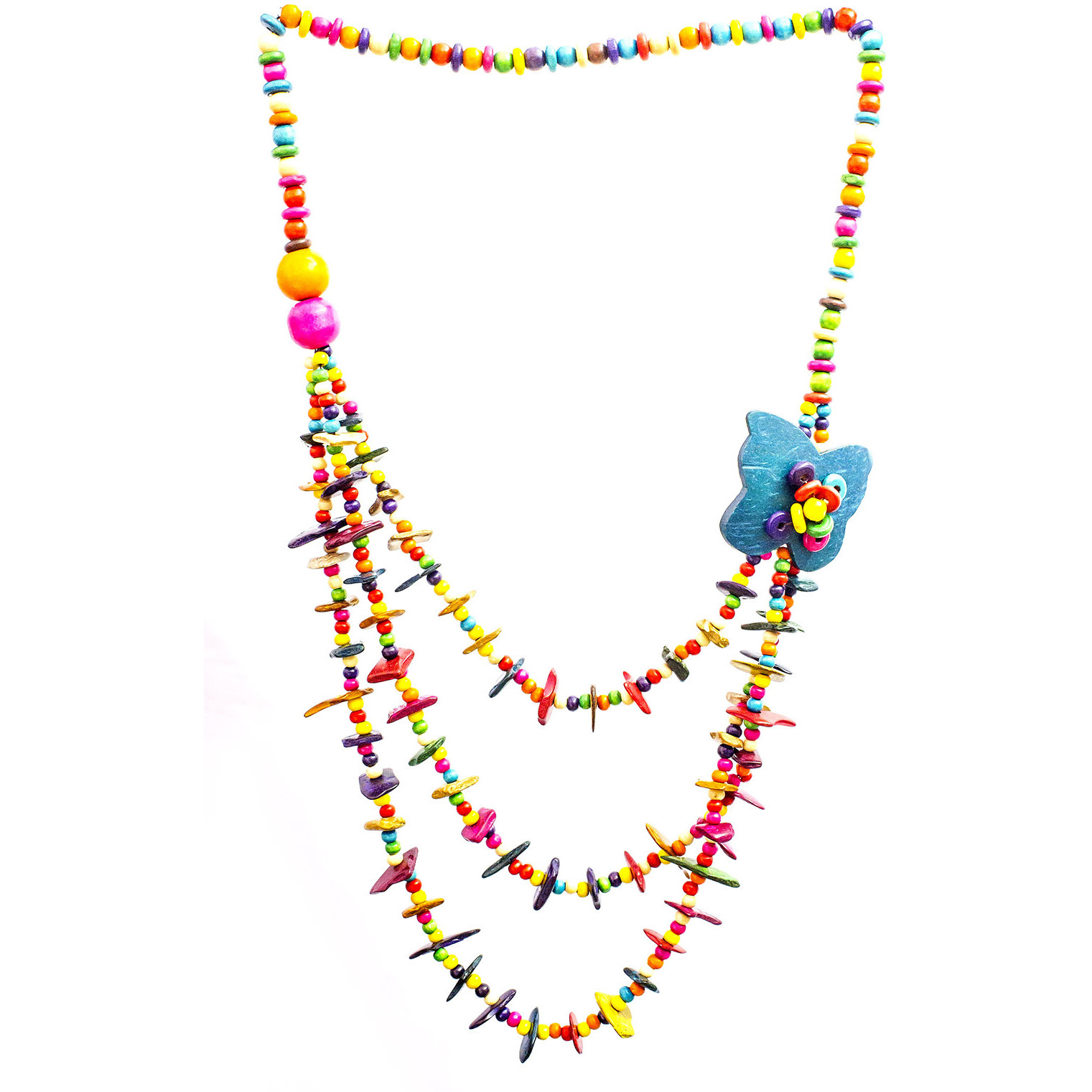 Multicolor Three-Strand Long Necklace