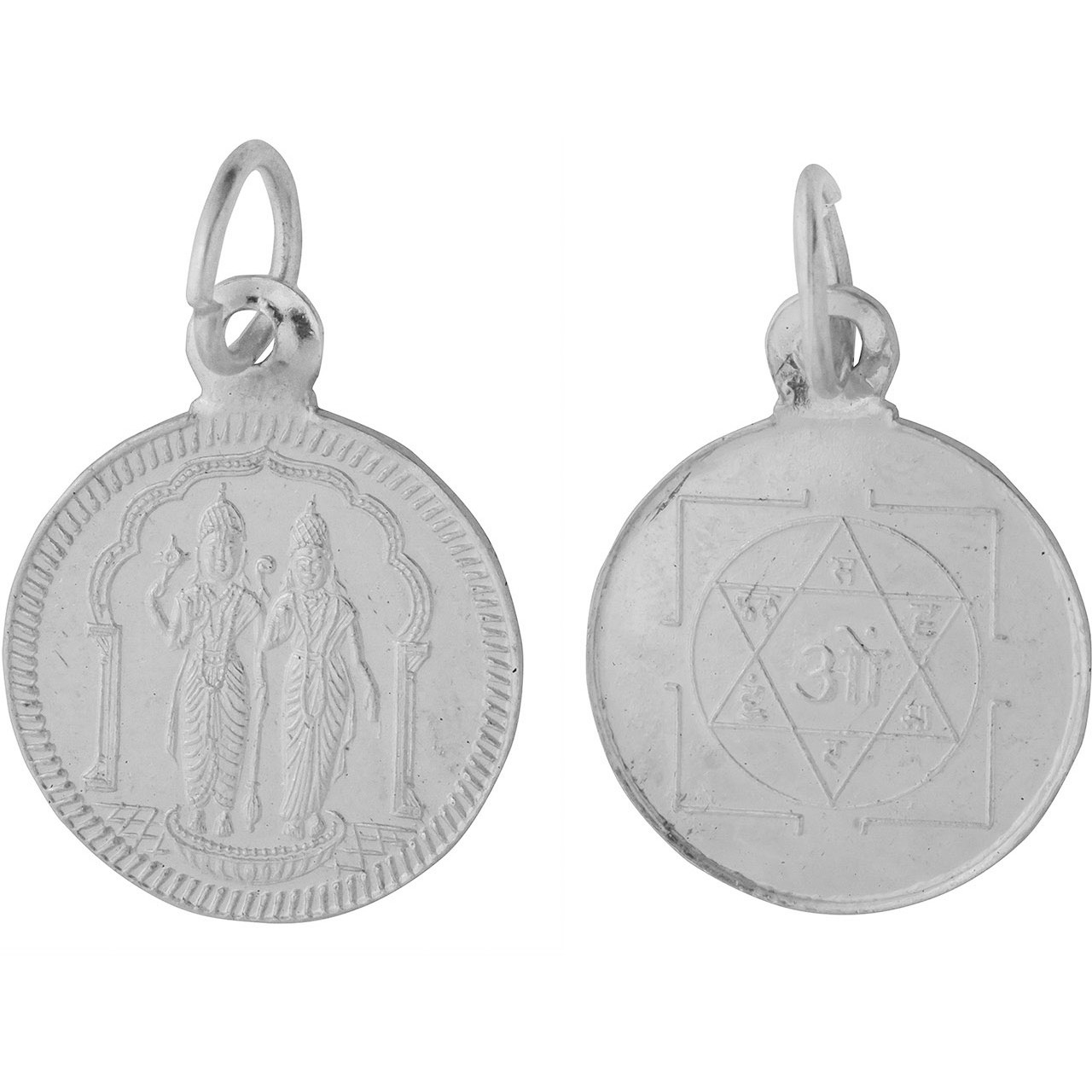 Vishnu-Lakshmi with Yantra on  Reverse (Two Sided Pendant)