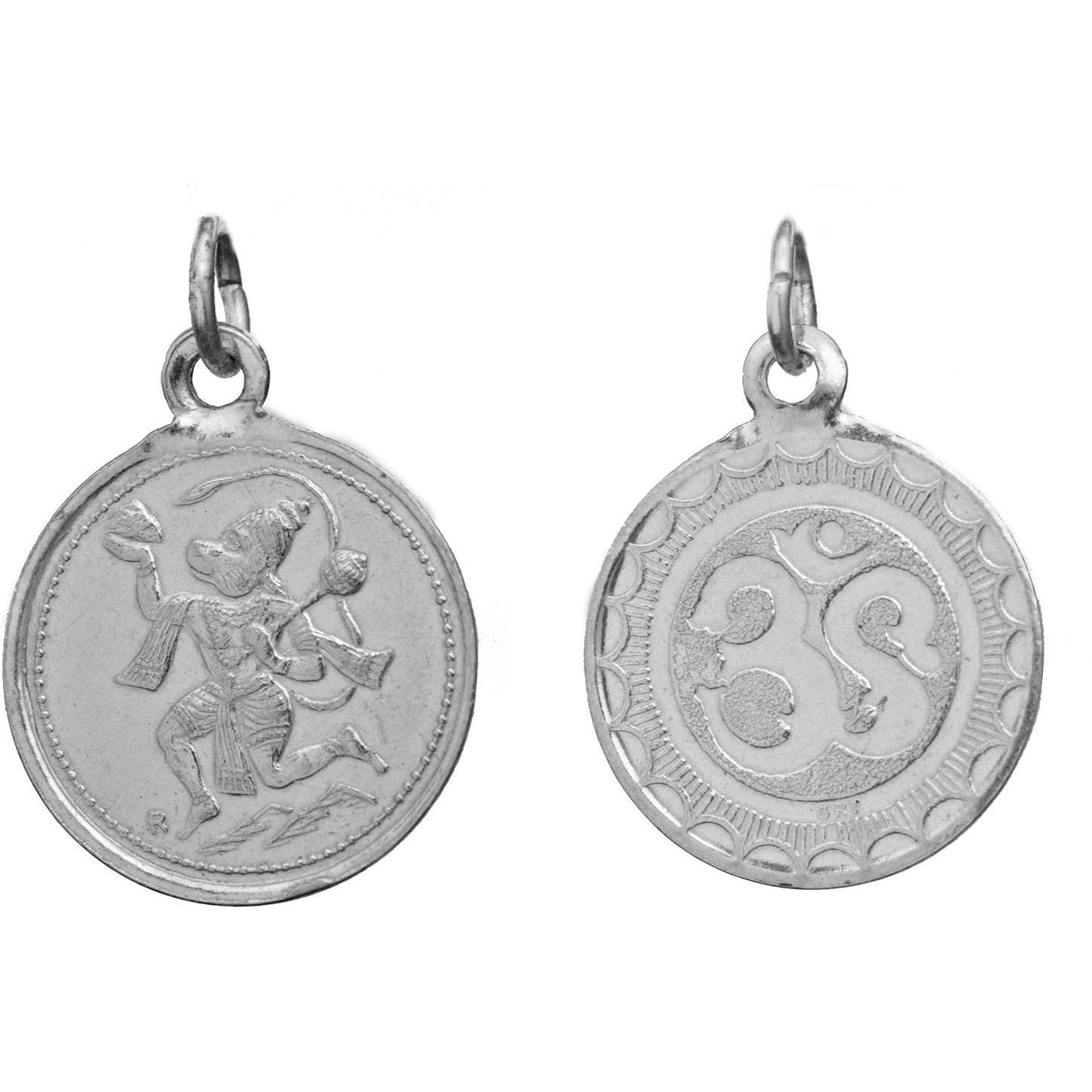 Veera Anjaneyar (Hanuman Ji)   Pendant with OM (AUM) on Reverse (Two Sided Pendant)