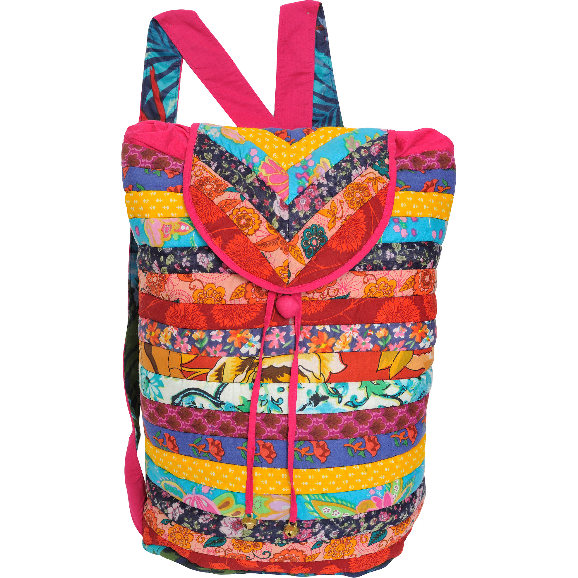 Multicolor Floral Printed Backpack with Patchwork