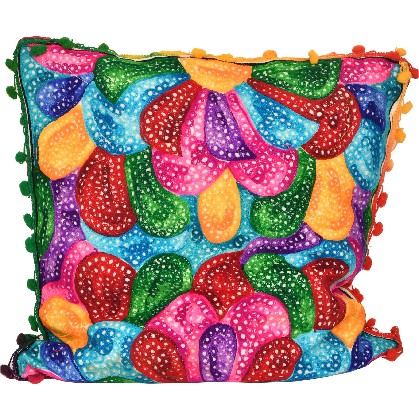 Muticolored Ari-Embroidered Cushion Cover