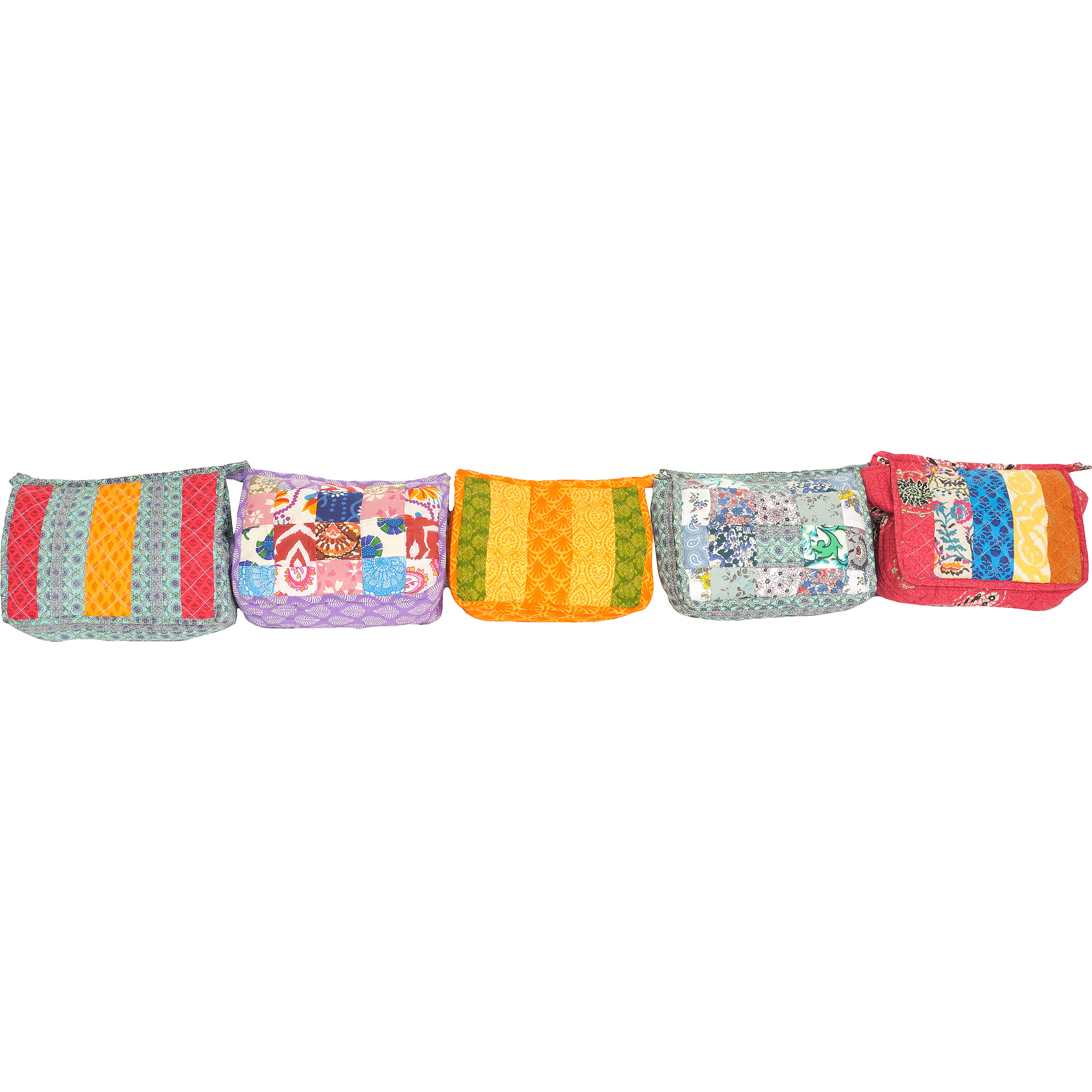 Lot of Five Printed Clutch Bags with Patchwork