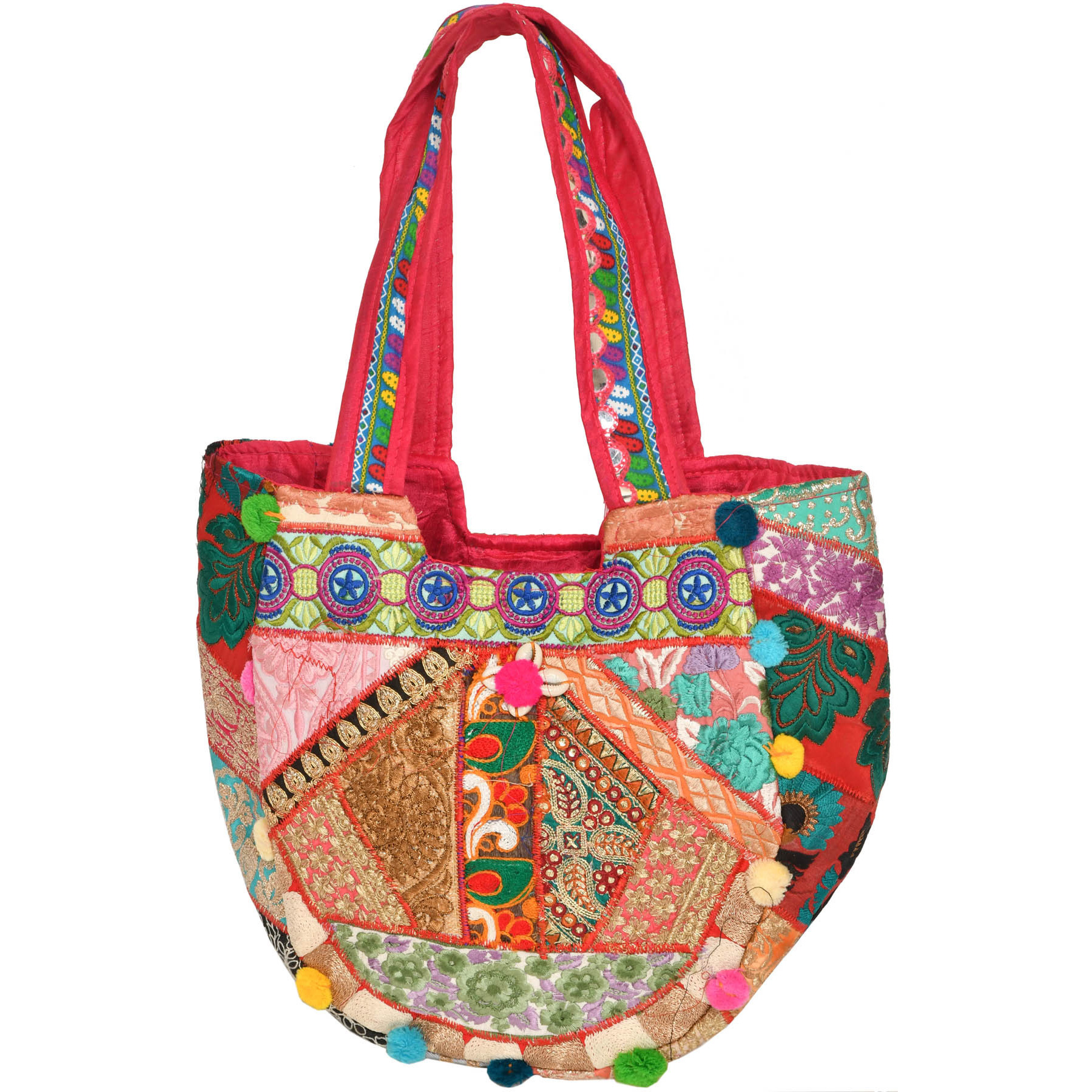 Multicolor Embroidered Shopper Bag with Cowries and Sequins