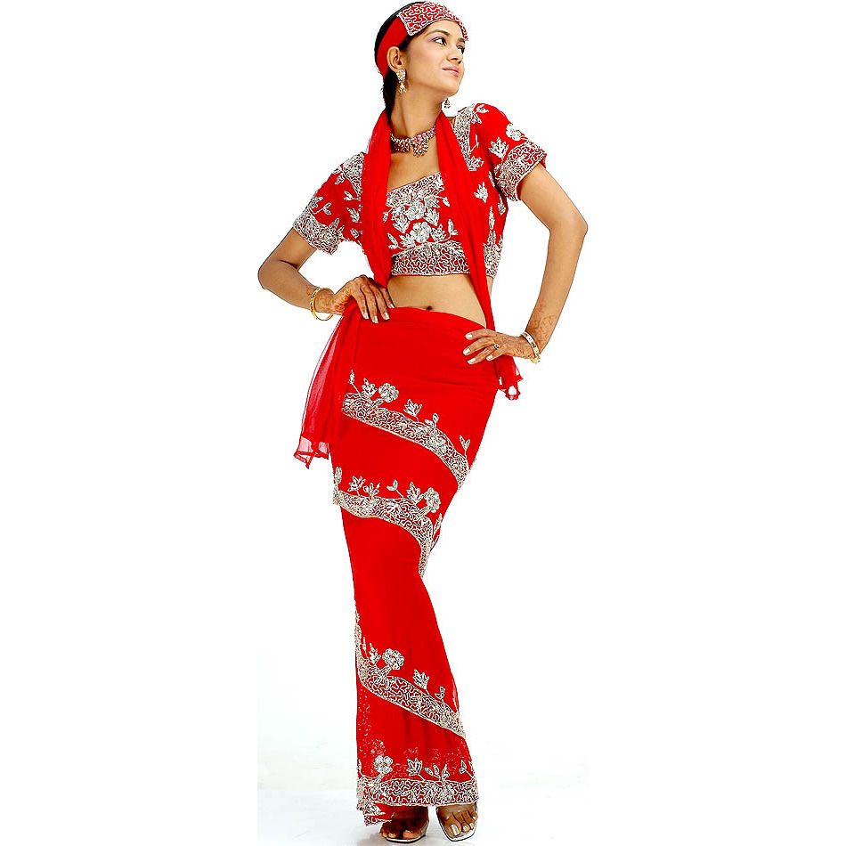 Red Wrap Around Four Piece Sari Suit with Heavy Sequins and Beadwork on Choli