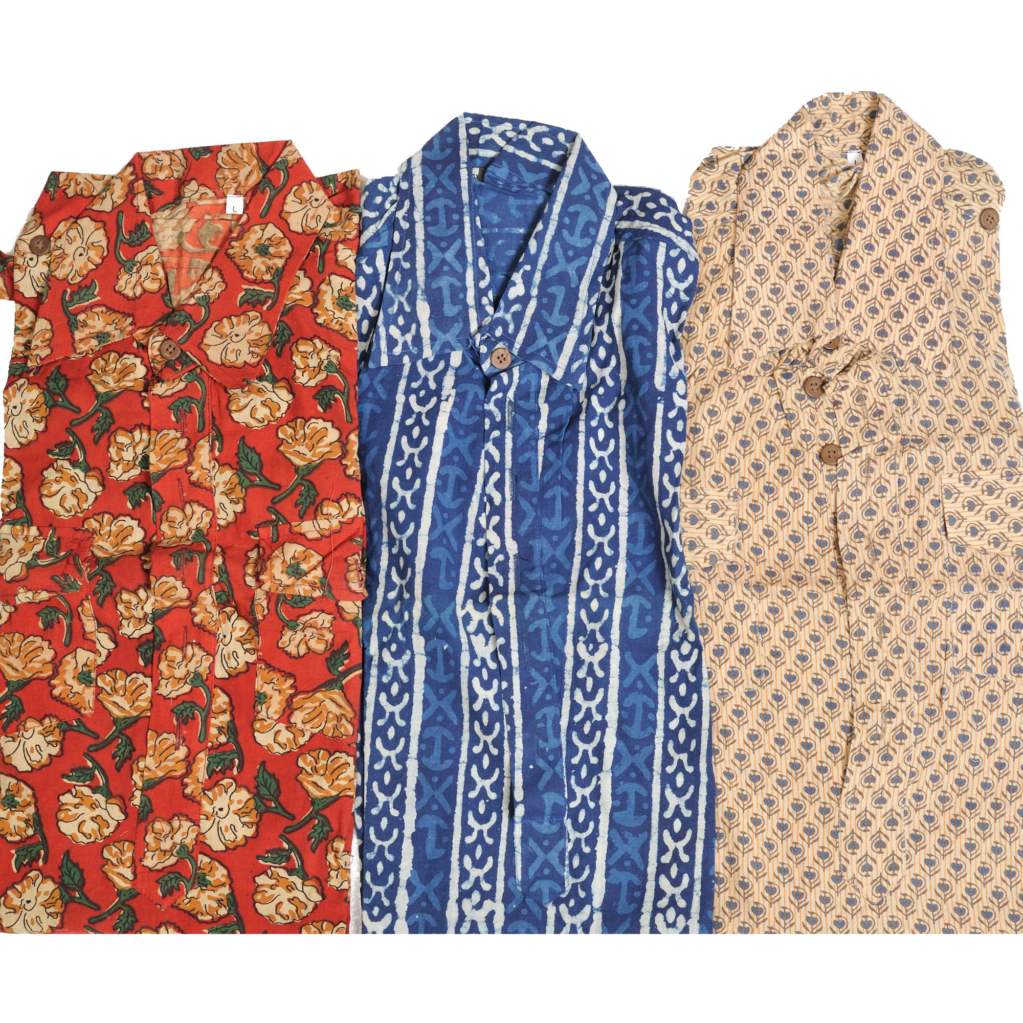 Lot of Three Block-Printed Collared Kurti Tops from Pilkhuwa