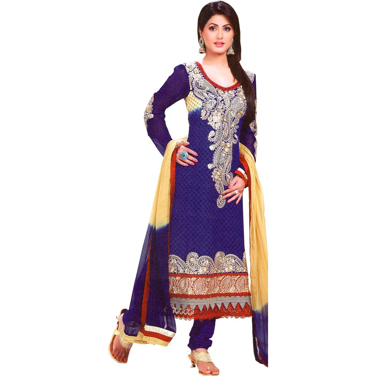 Twilight-Blue Choodidaar Kameez Suit with Floral Booties and Giant Paisley Patch