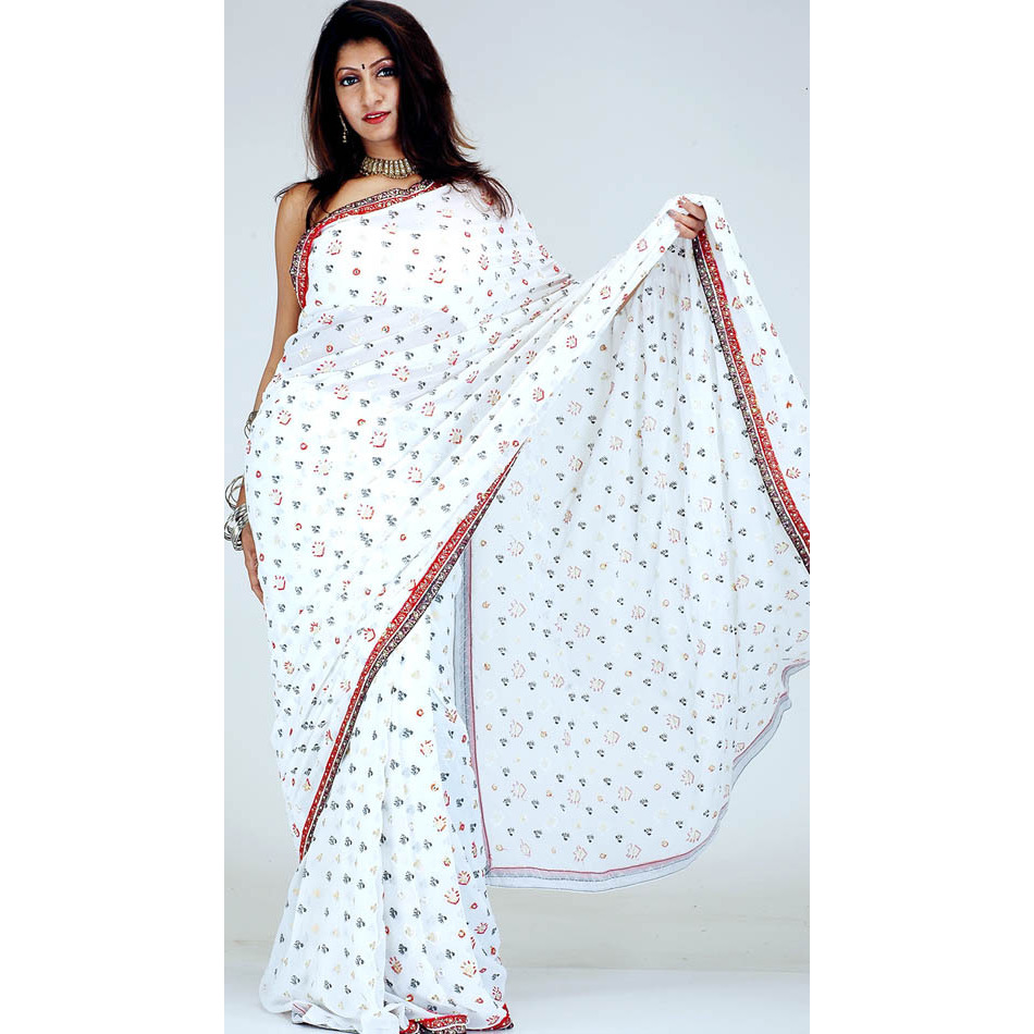 White Designer Sari with Painted Bootis and All-Over Sequins
