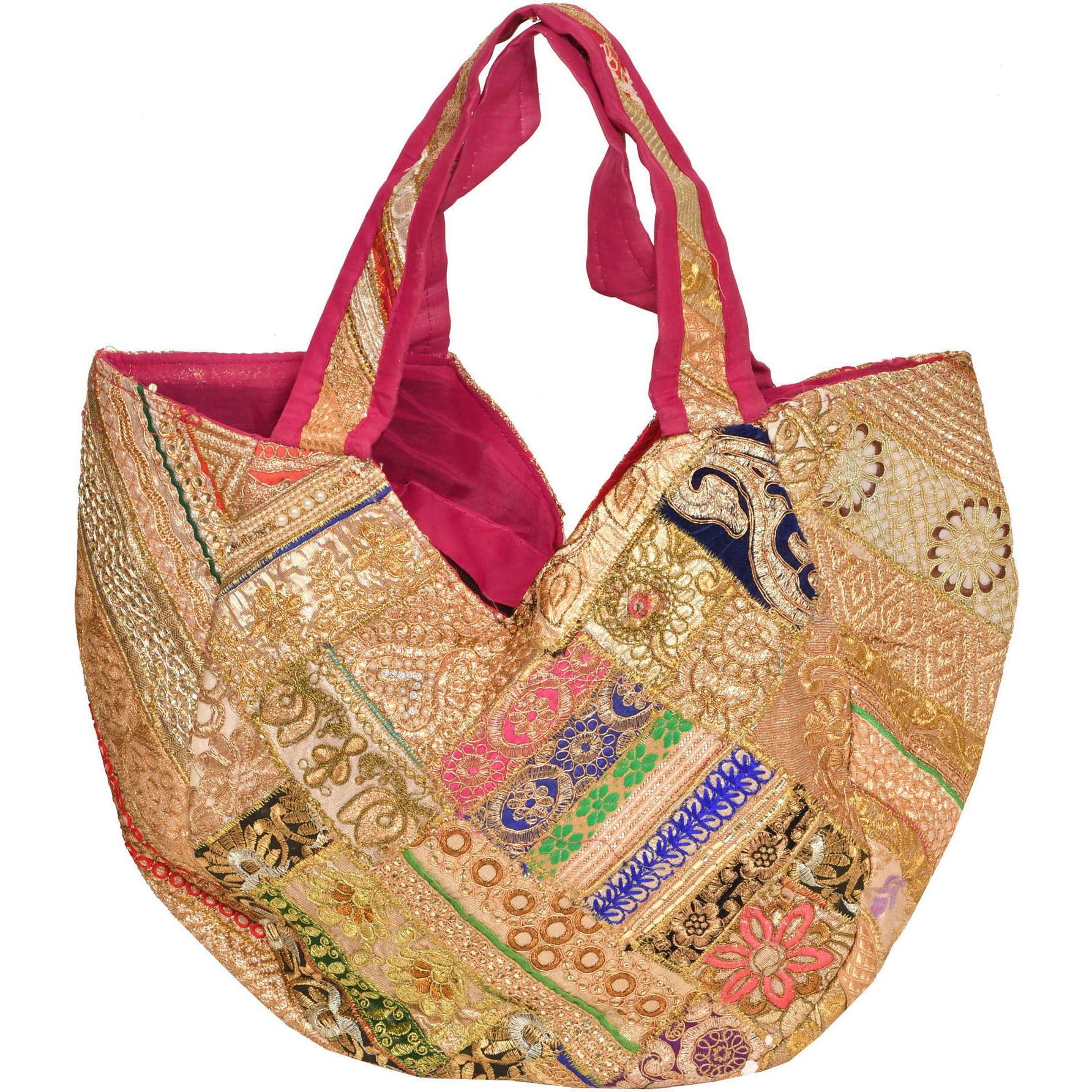 Shopper Bag from Gujarat with Golden-Embroidery All-Over and Sequins