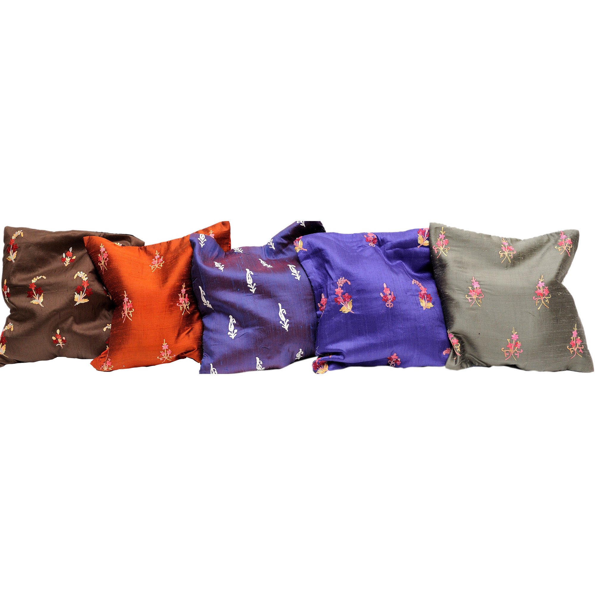 Lot of Five Cushion Covers from Kashmir with Ari Embroidered Bootis