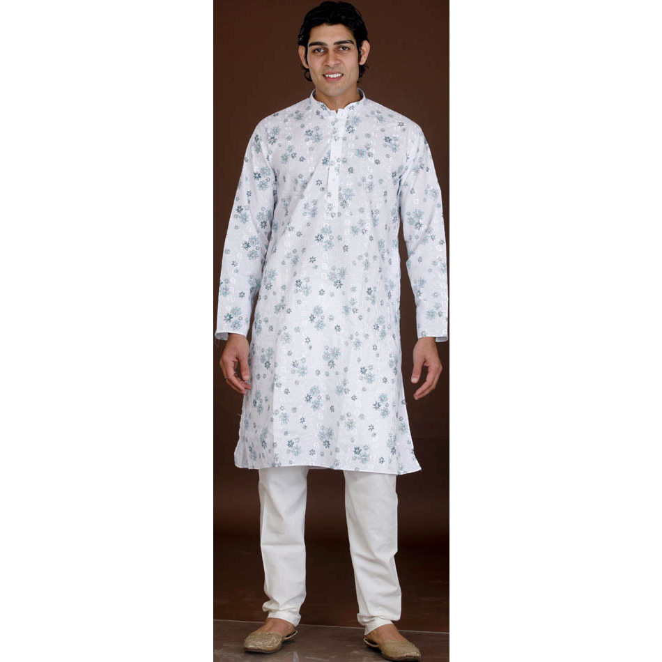 White Kurta Pajama with Floral Print and All-Over Thread Work