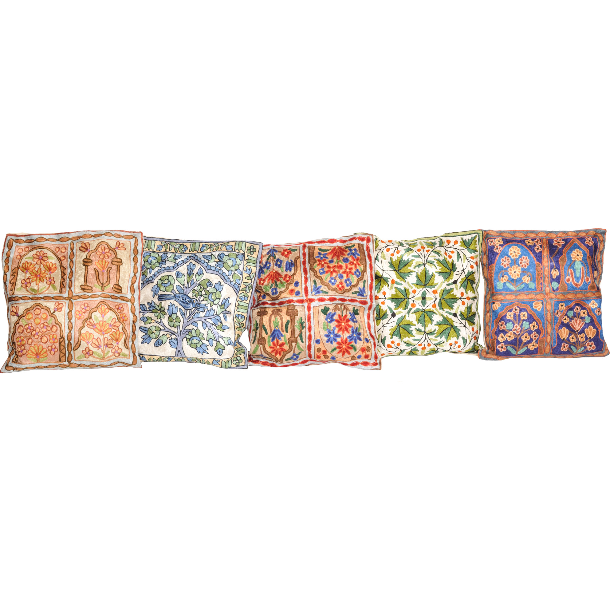 Lot of Five Cushion Covers from Kashmir with Dense Chain-Stitch Embroidery