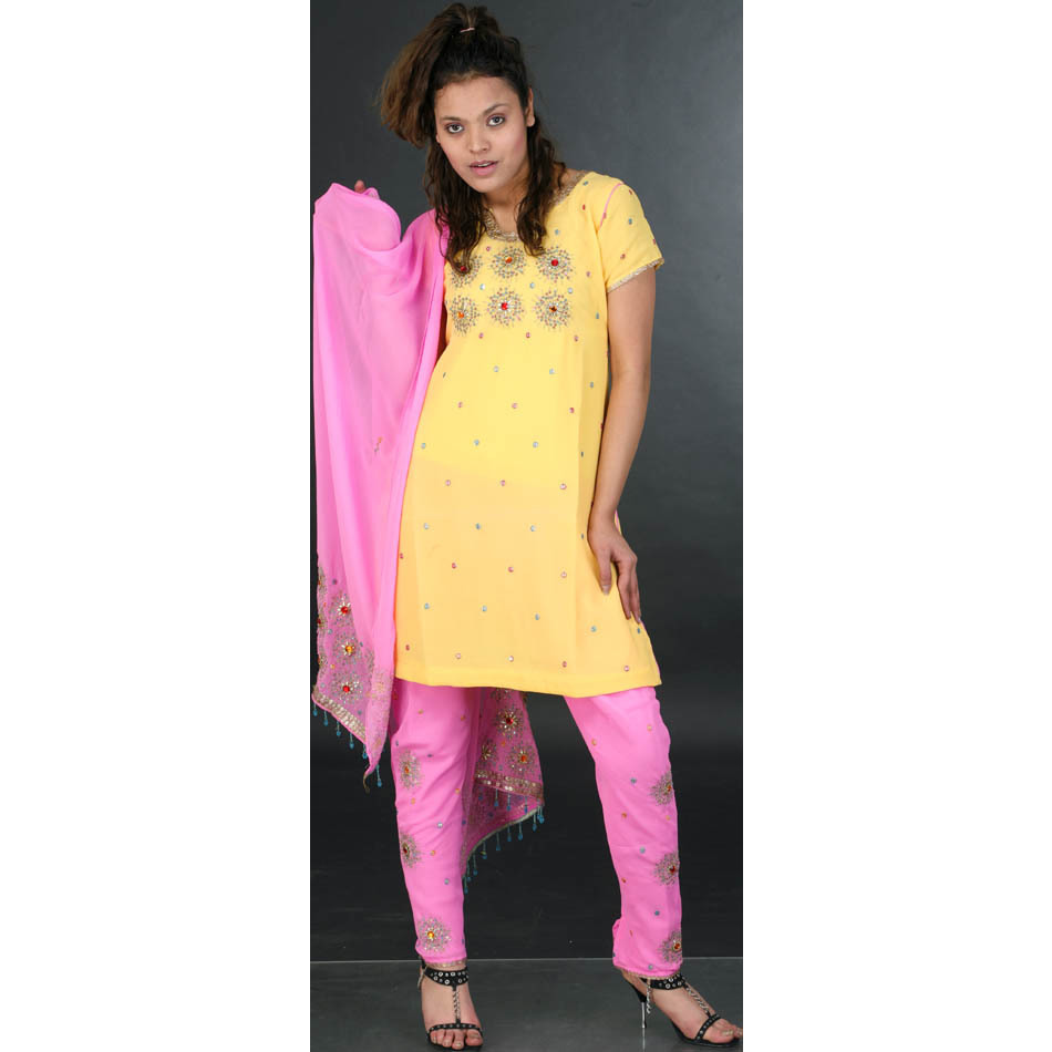 Yellow and Pink Choodidaar Suit with Golden Beadwork and Sequins