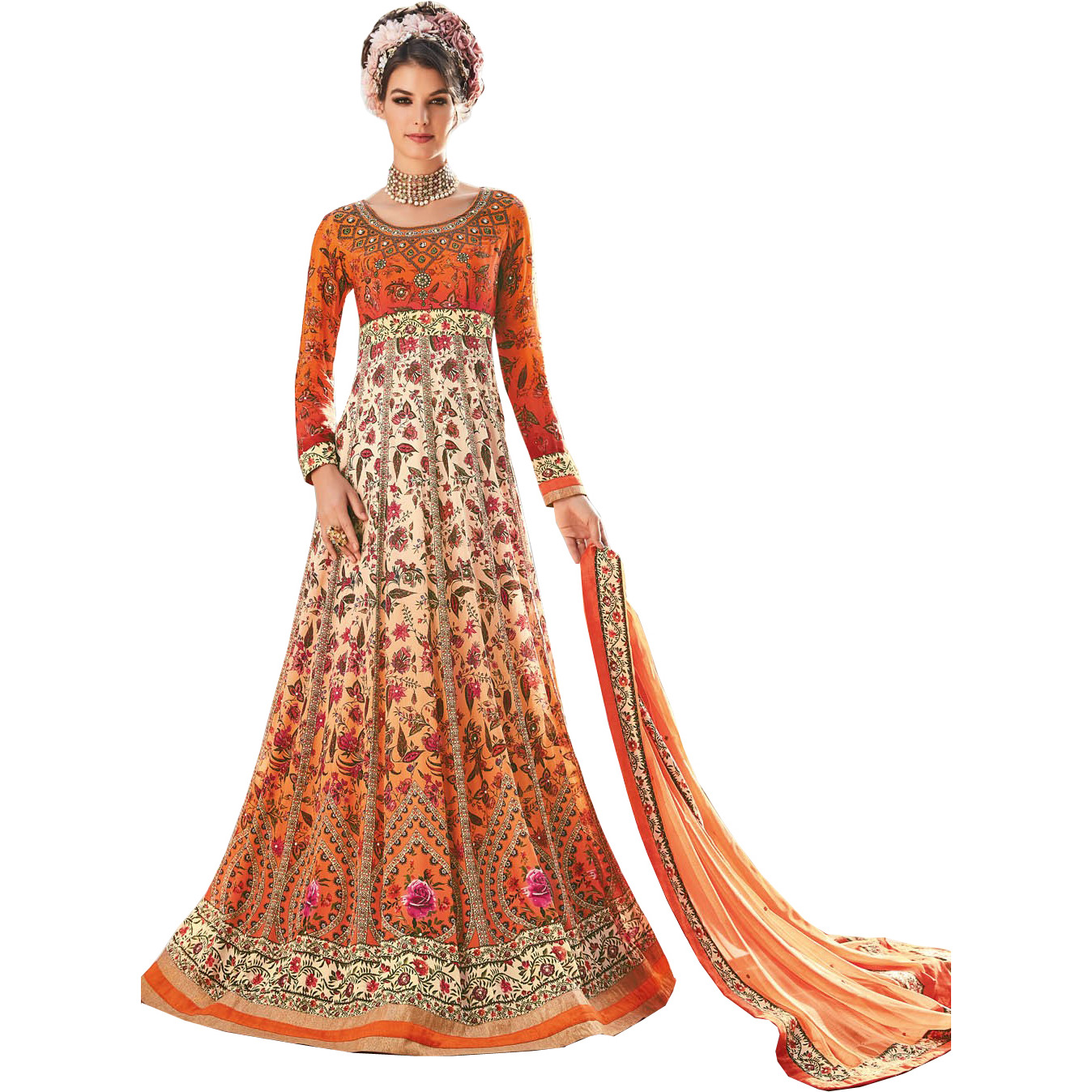 Orange and Peach Designer Floor-Length Anarkali Suit with Floral Print and Crystals All-Over