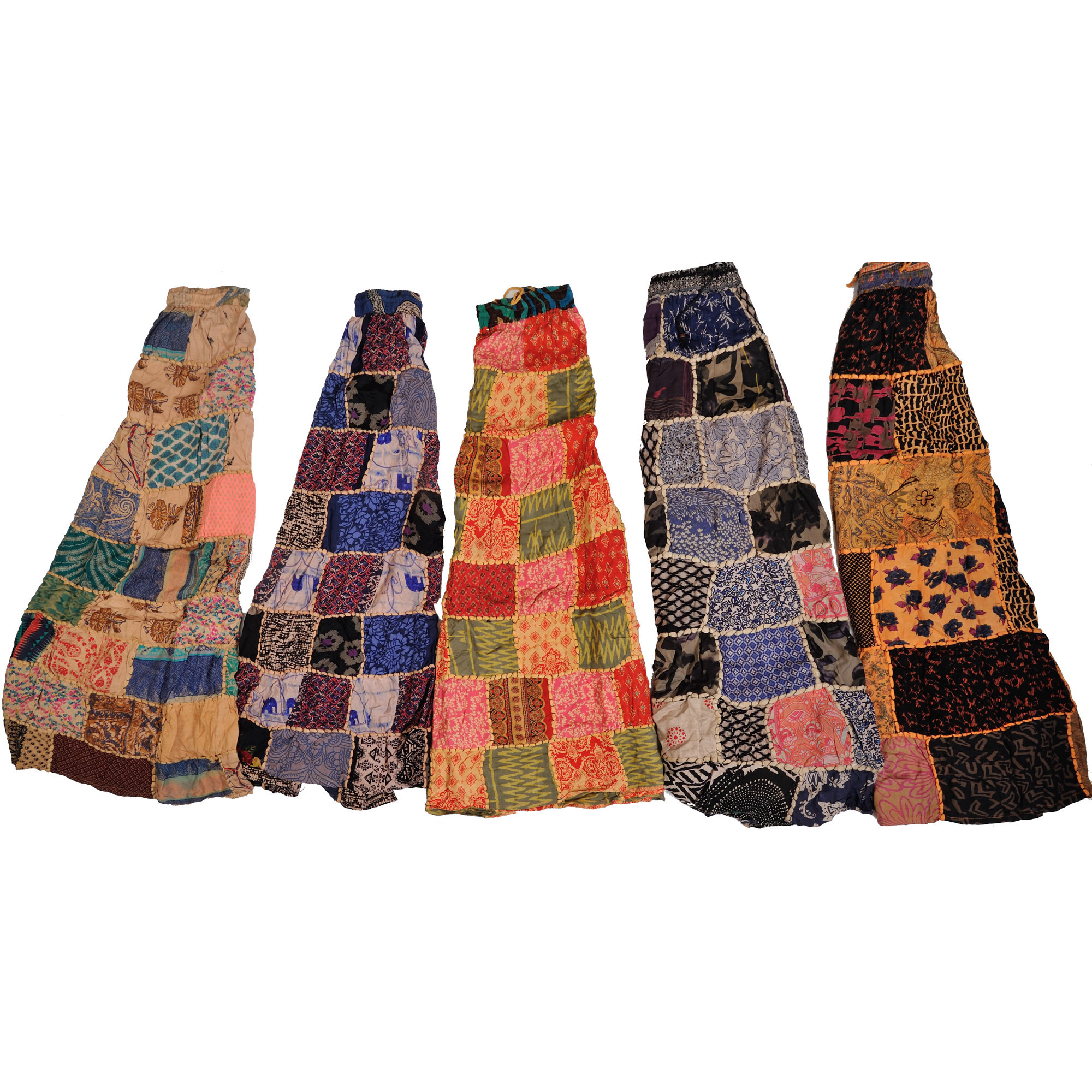 Lot of Five Printed Patchwork Dori Skirts