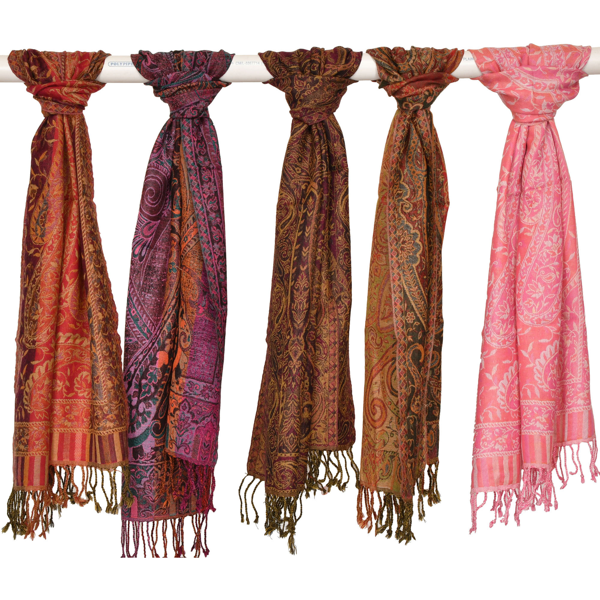 Lot of Five Jamawar Scarves
