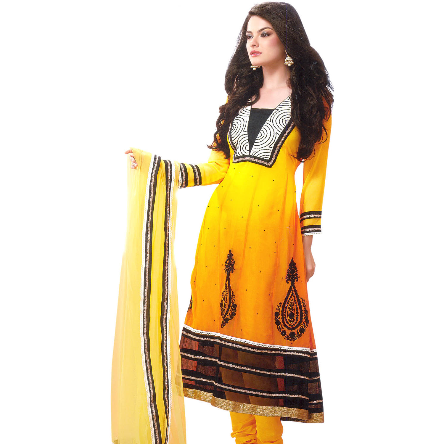 Citrus-Yellow Choodidaar Kameez Suit with All-Over Sequins and Gota Border