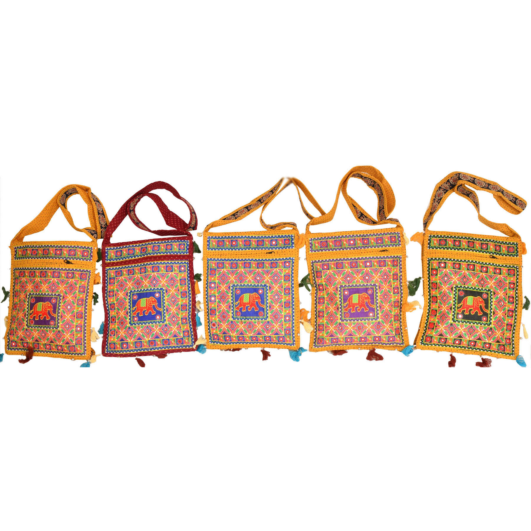 Lot of Five Elephant Jhola Bags with Mirrors