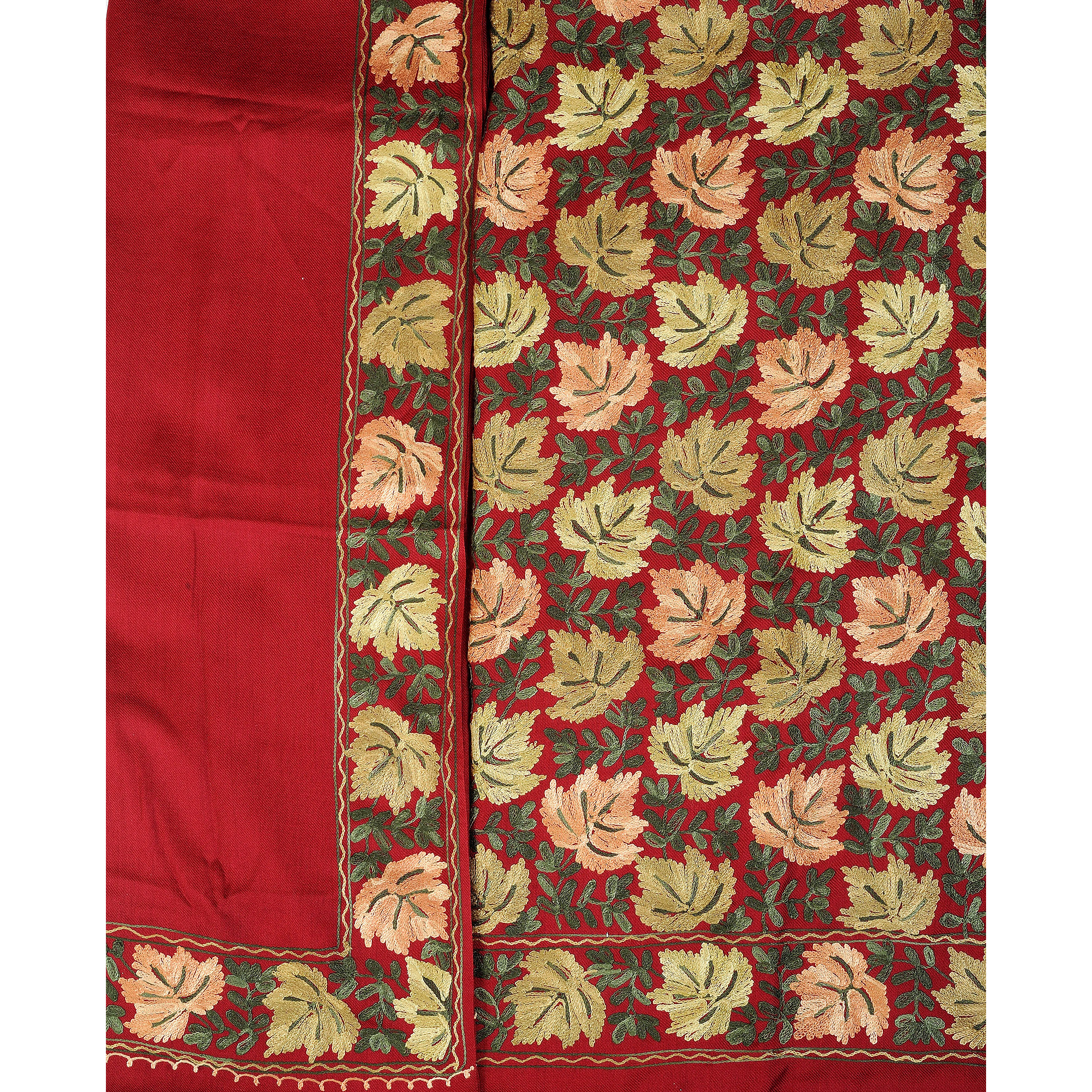 Salwar Kameez Fabric from Amritsar with Ari-Embroidered Maple Leaves