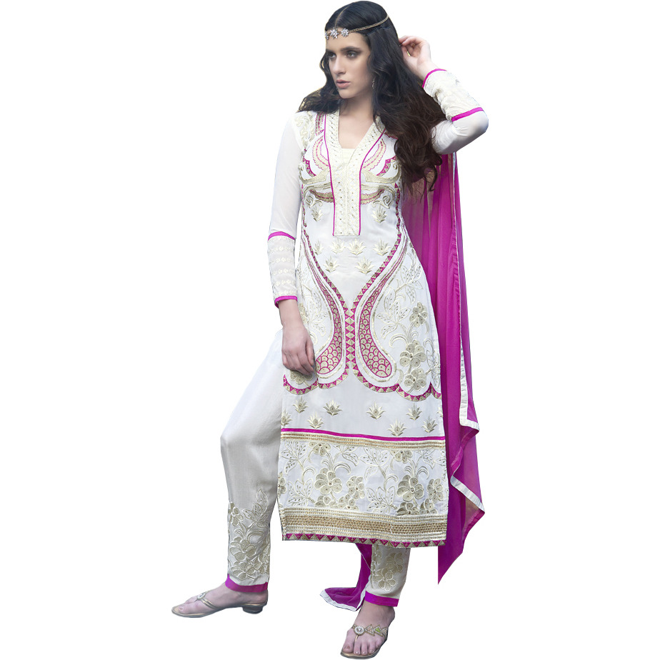 White and Pink Long Parallel Salwar Suit with Embroidery in Golden Thread and Crystals
