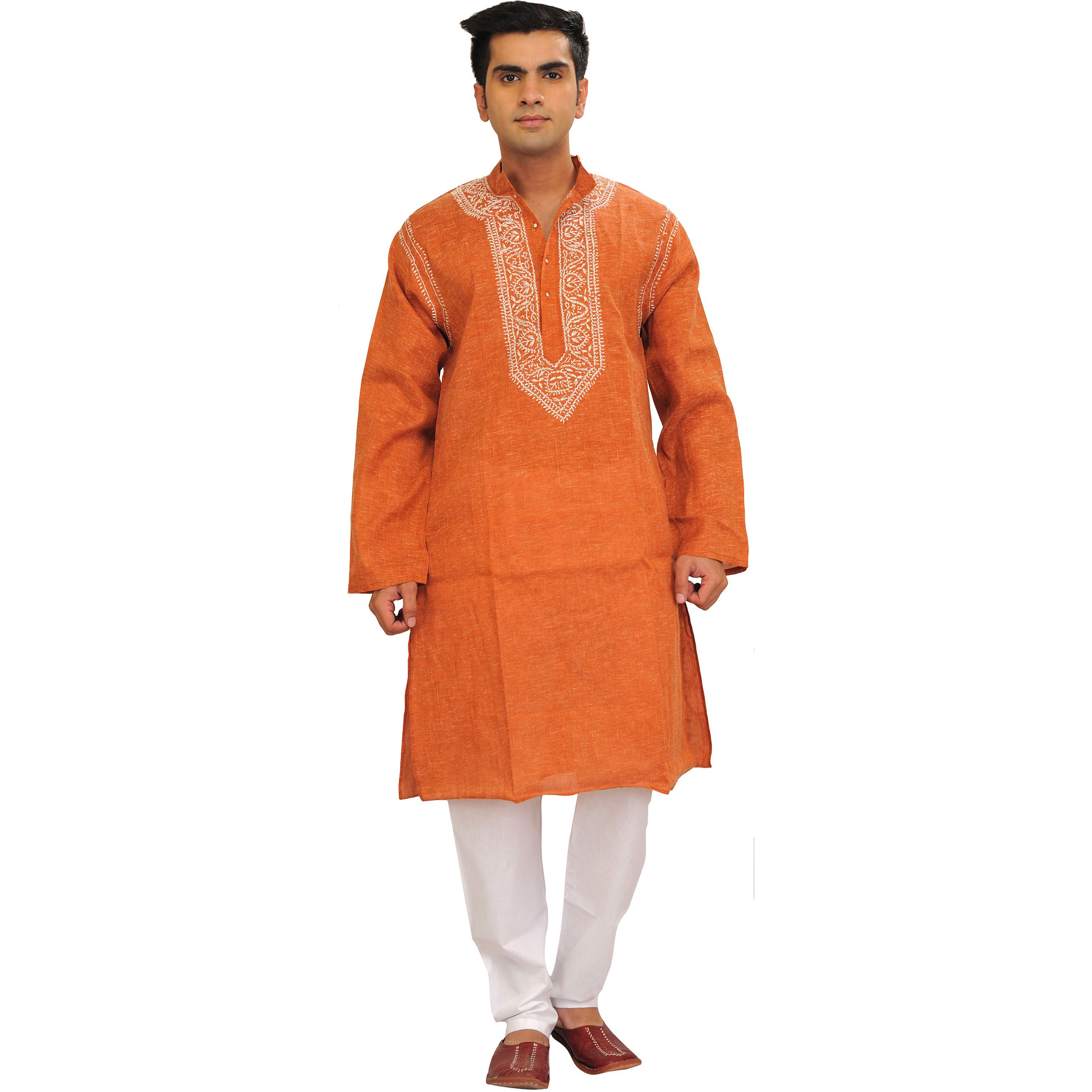 Casual Kurta Pajama Set with Chikan Hand-Embroidery on Neck