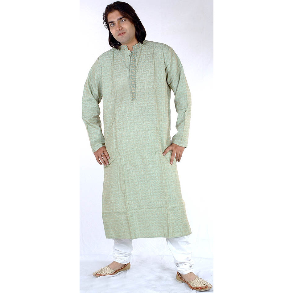 Tea-Green Kurta Set with All-Over Weave