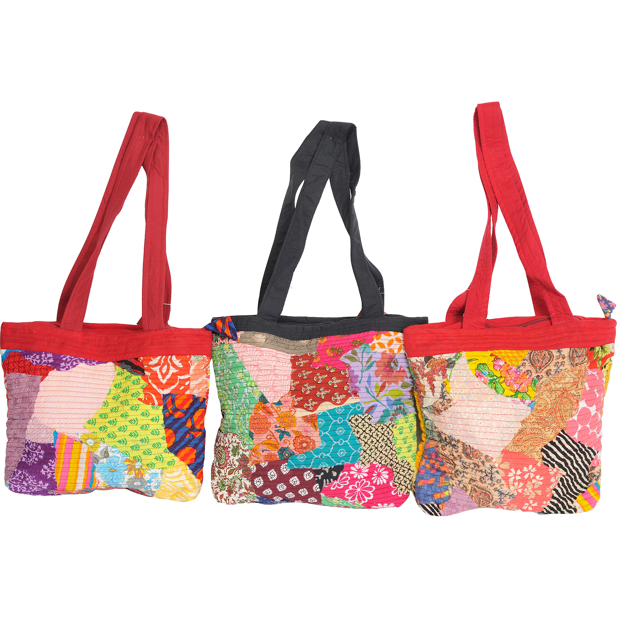 Lot of Three Multicolor Shopper Bags with Patchwork