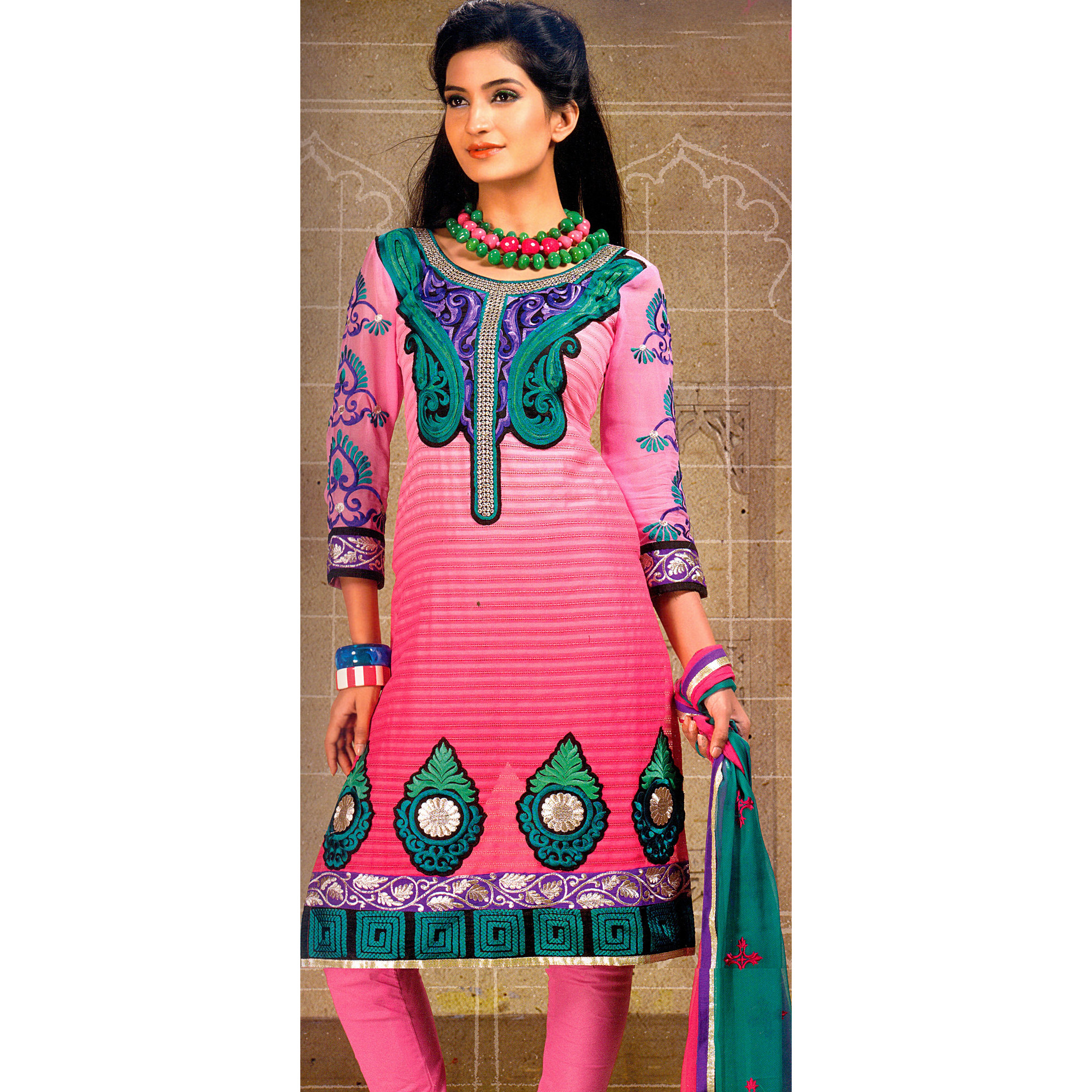 Morning Glory-Pink Choodidaar Kameez Suit with Crewel Embroidery on Neck and Patch Border