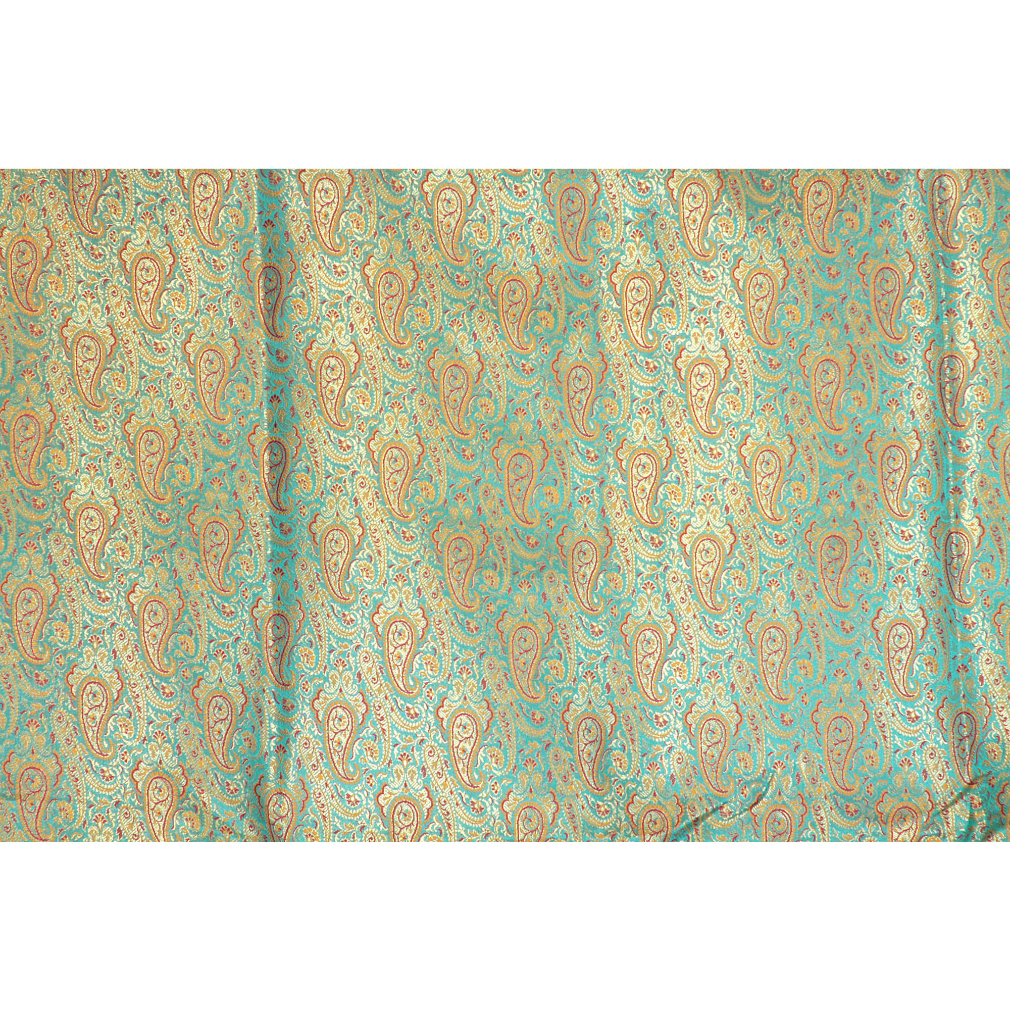 Turquoise-Blue Fabric from Banaras with Paisleys Woven in Golden Thread