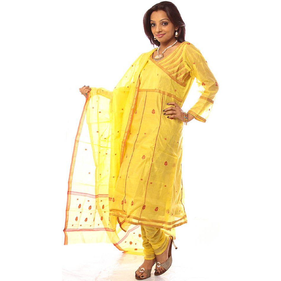 Yellow Angarakha Chanderi Suit with Red Bootis