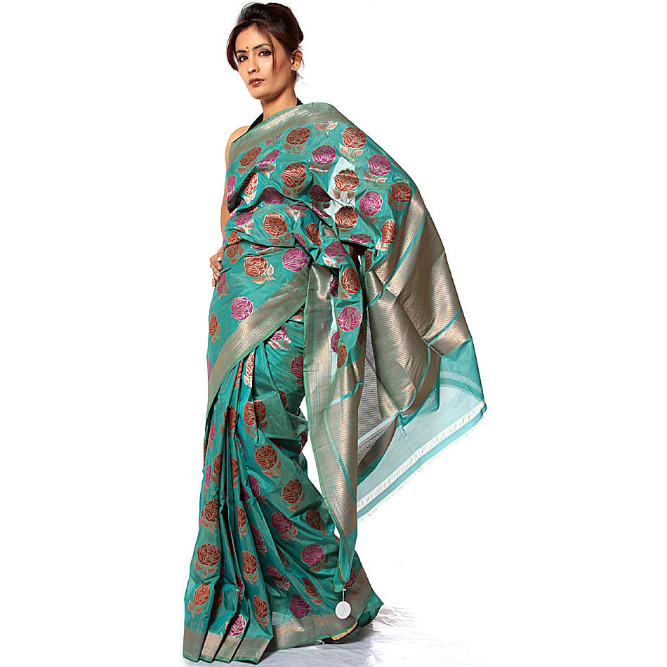 Jade-Green Sari from Banaras with All-Over Large Flowers Weave by Hand