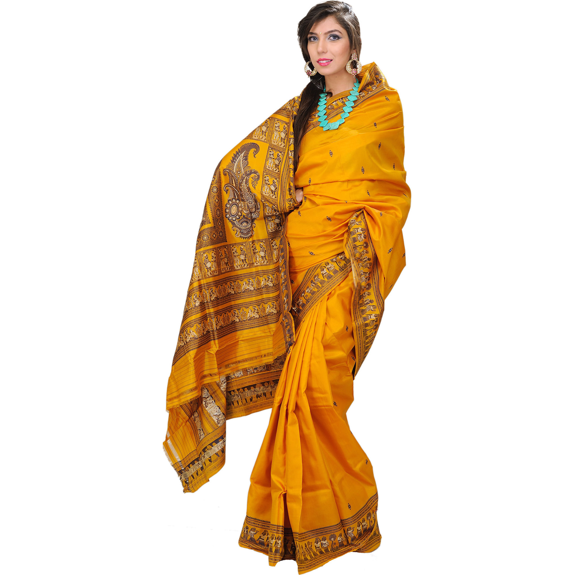 Sunflower Baluchari Hand-woven Sari Depicting Mythological Episodes
