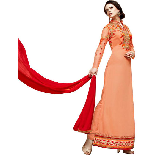 Peach-Cobbler Wedding Floor Length Choodidaar Kameez Suit with Floral-Embroidery and Sequins