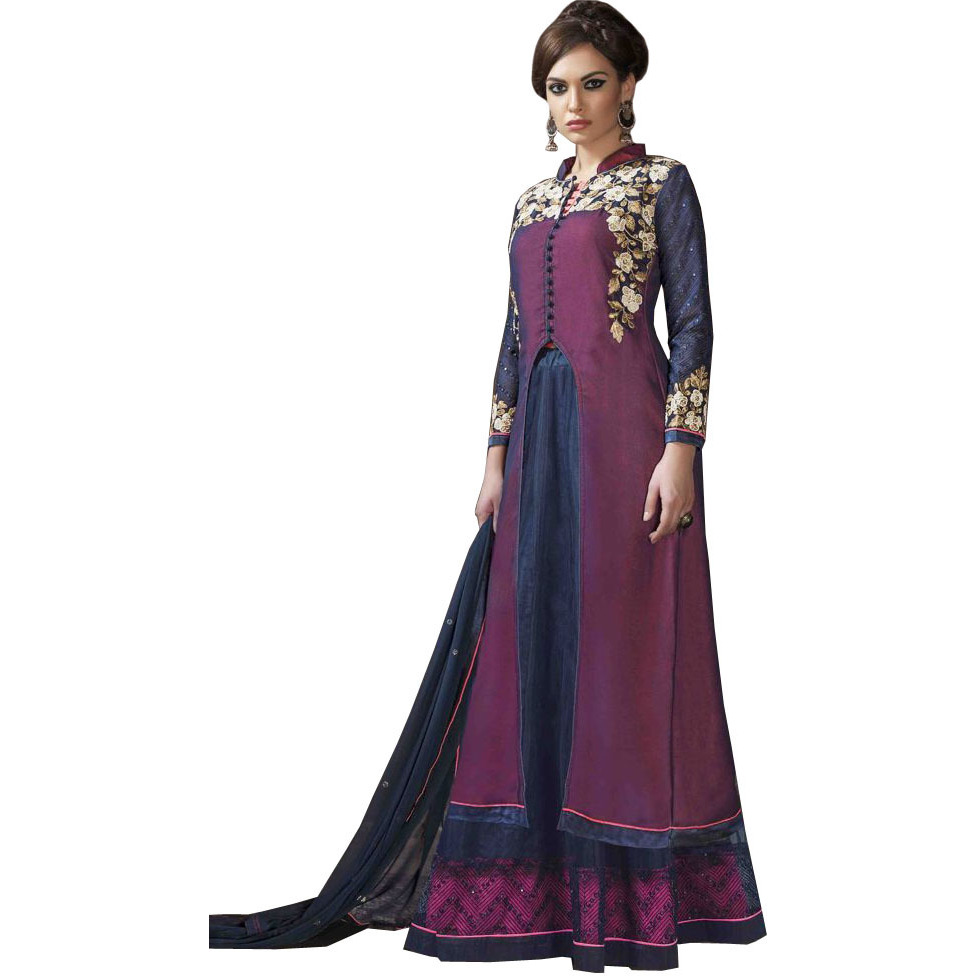 Violet-Quartz and Patriot-Blue Two in One Skirt and Parallel Salwar Suit with Floral Beads-Embroidery and Sequins