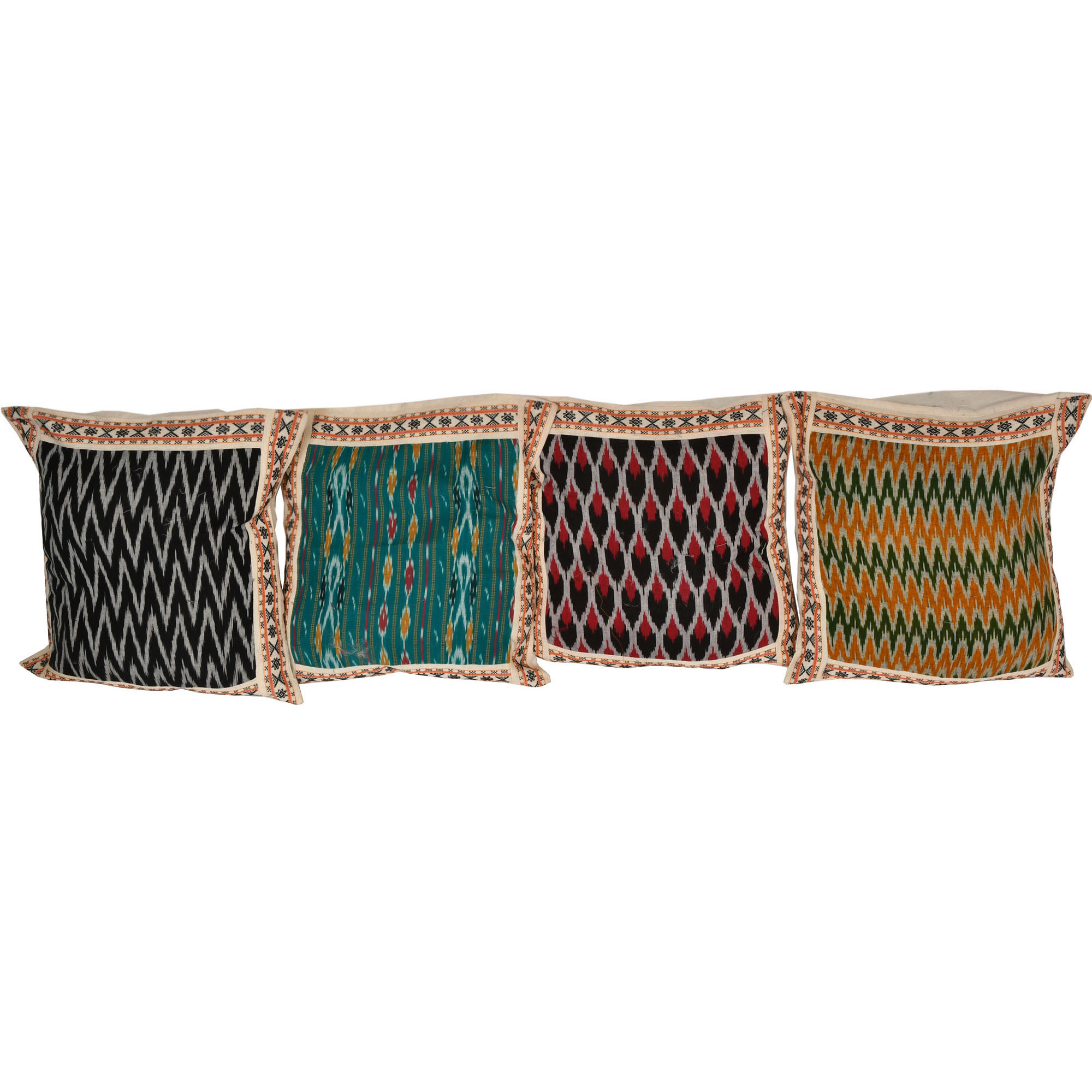 Lot of Four Cushion Covers from Hyderabad with Ikat Weave