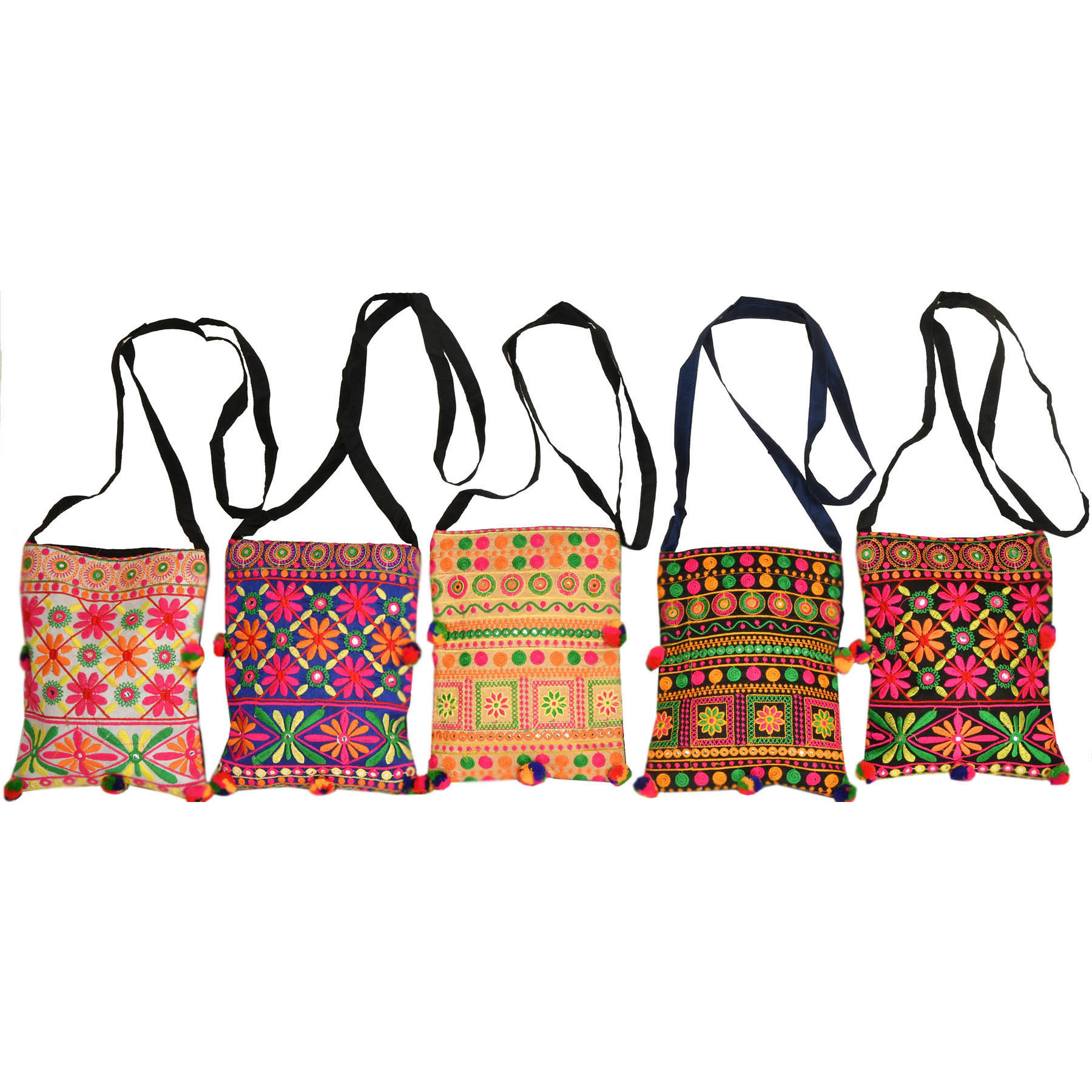 Multicolored Lot of Five Embroidered Shoulder Bags with Mirrors