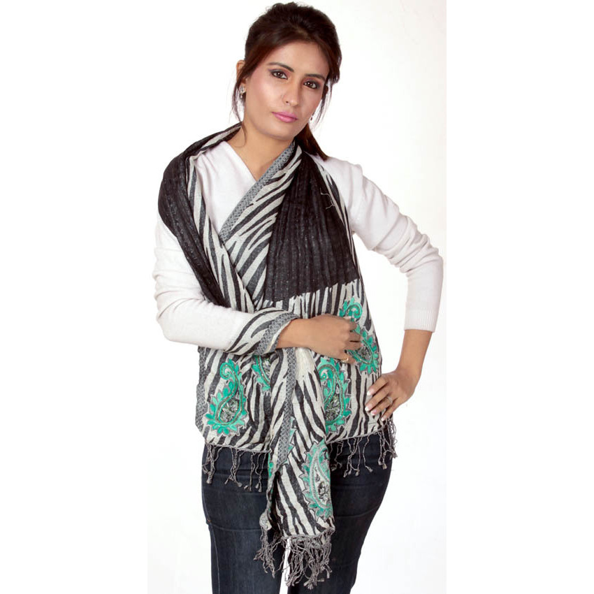 Zebra Designer Stole with Embroidered Paisleys and Sequins