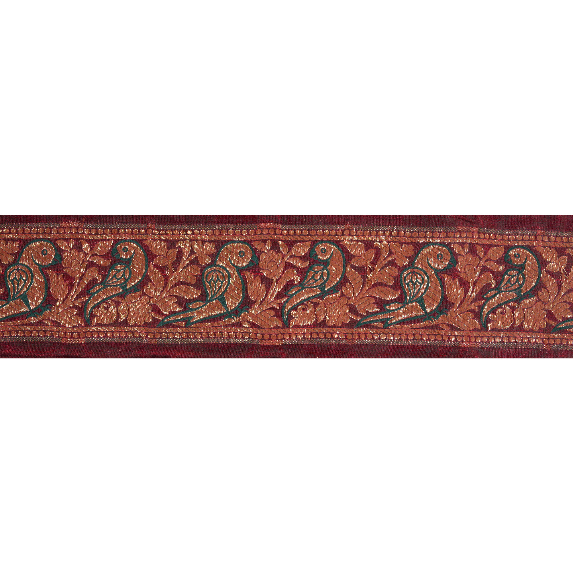 Maroon Banarasi Fabric Border with Woven Parrots in Golden Thread