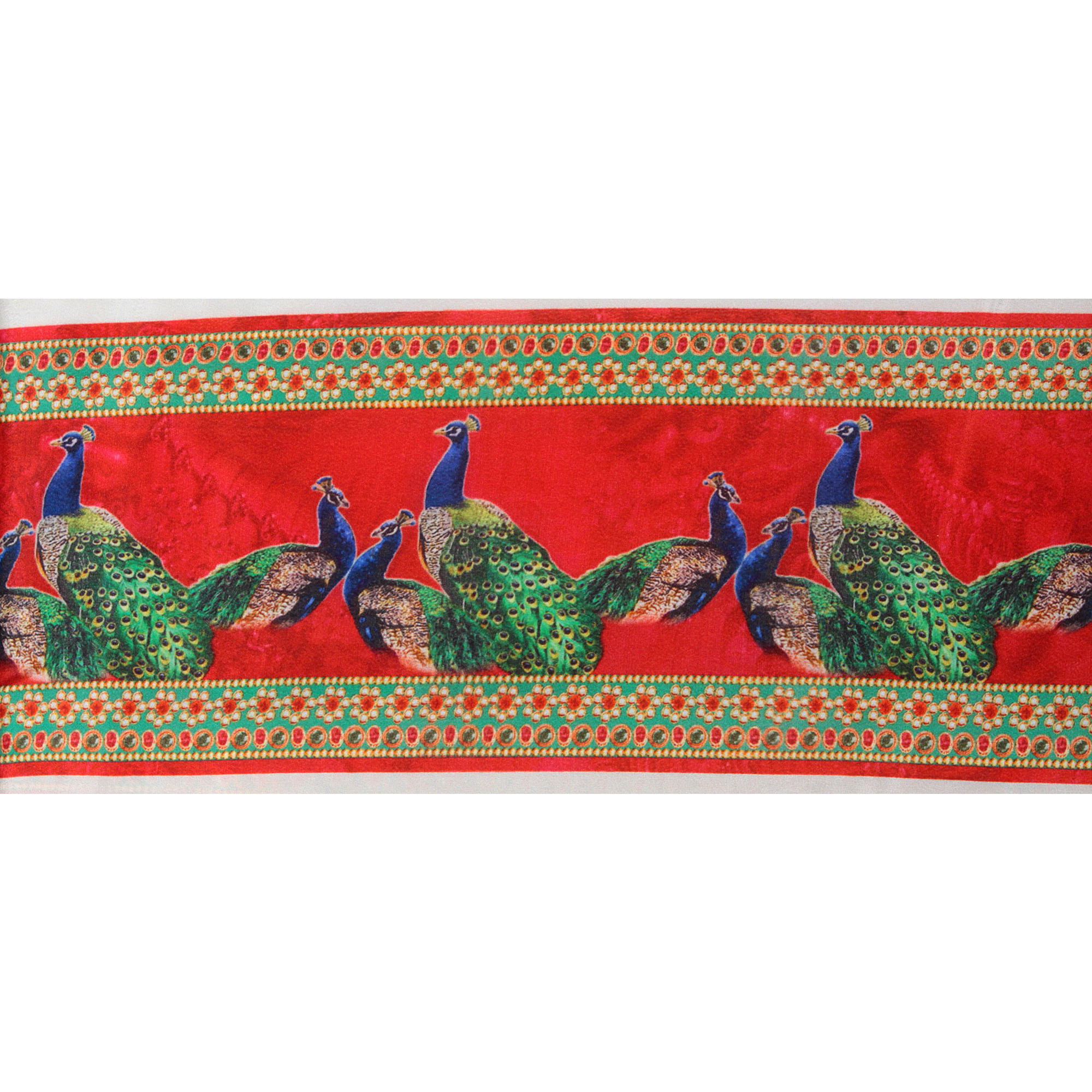 Red Fabric Border with Digital-Printed Peacocks