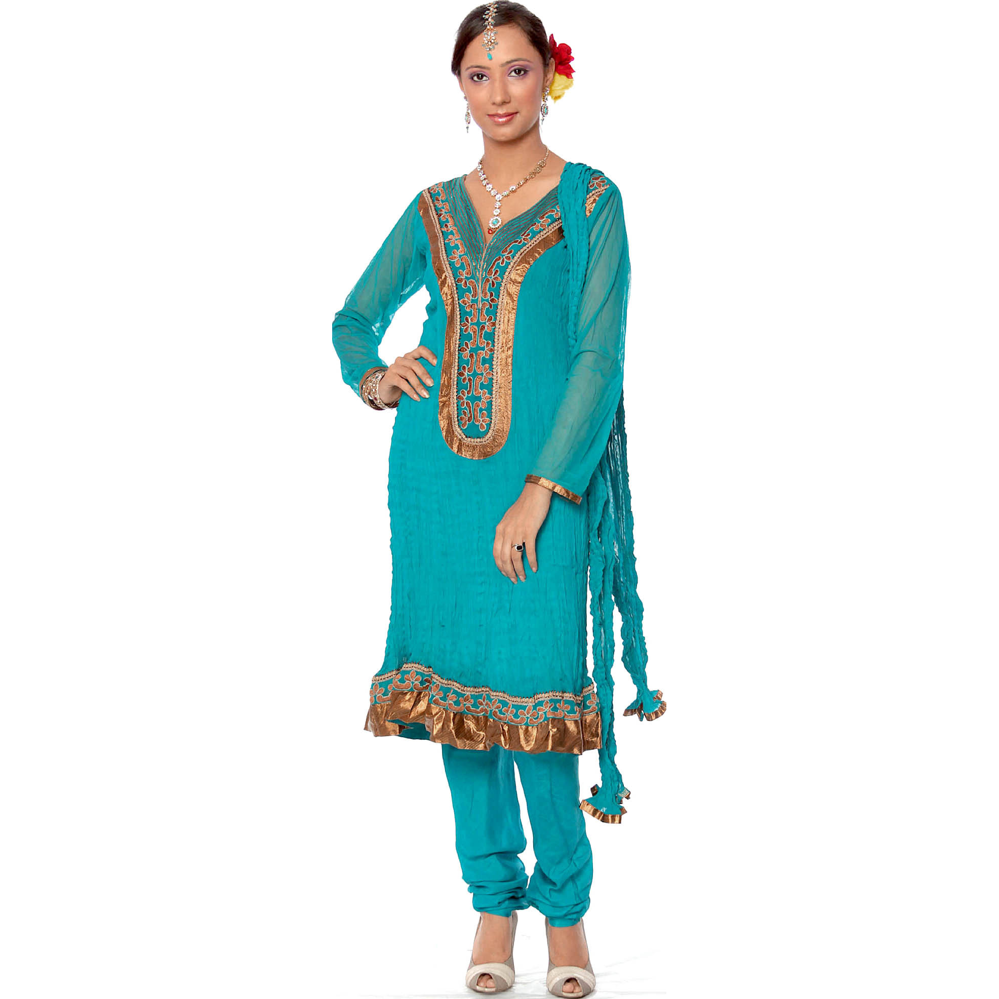 Turquoise Choodidaar Designer Suit with Patchwork