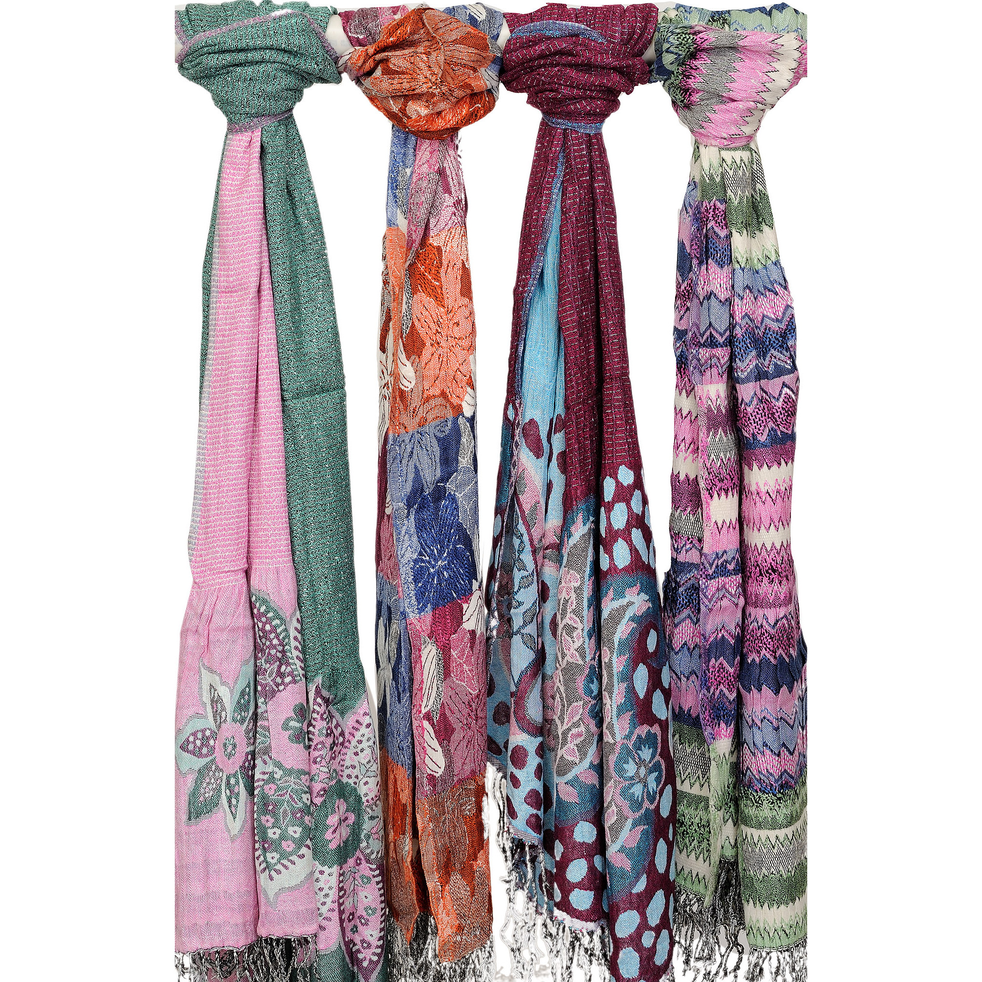 Lot of Four Jamawar Scarves