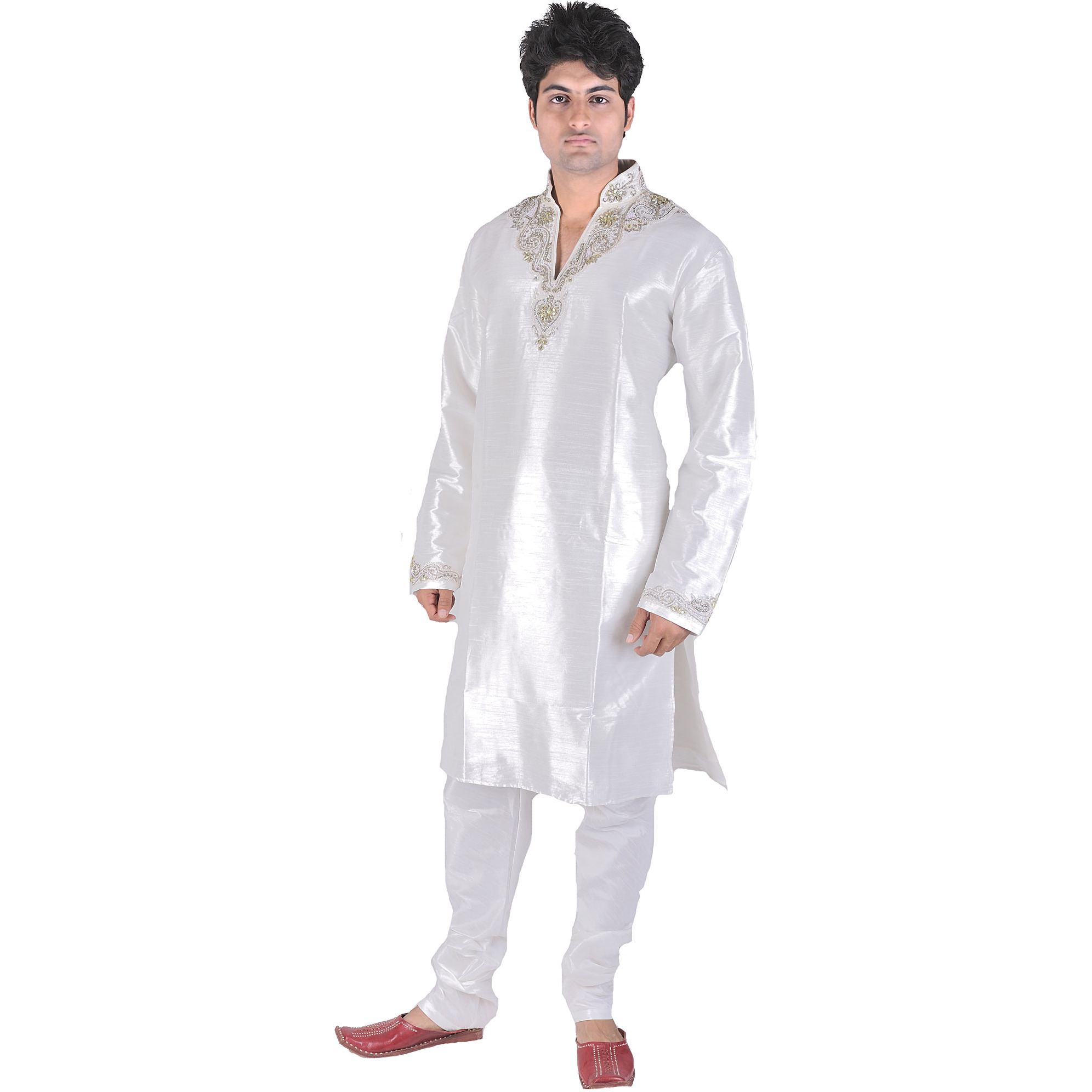 White Wedding Kurta Pajama with Beads Embroidered on Neck