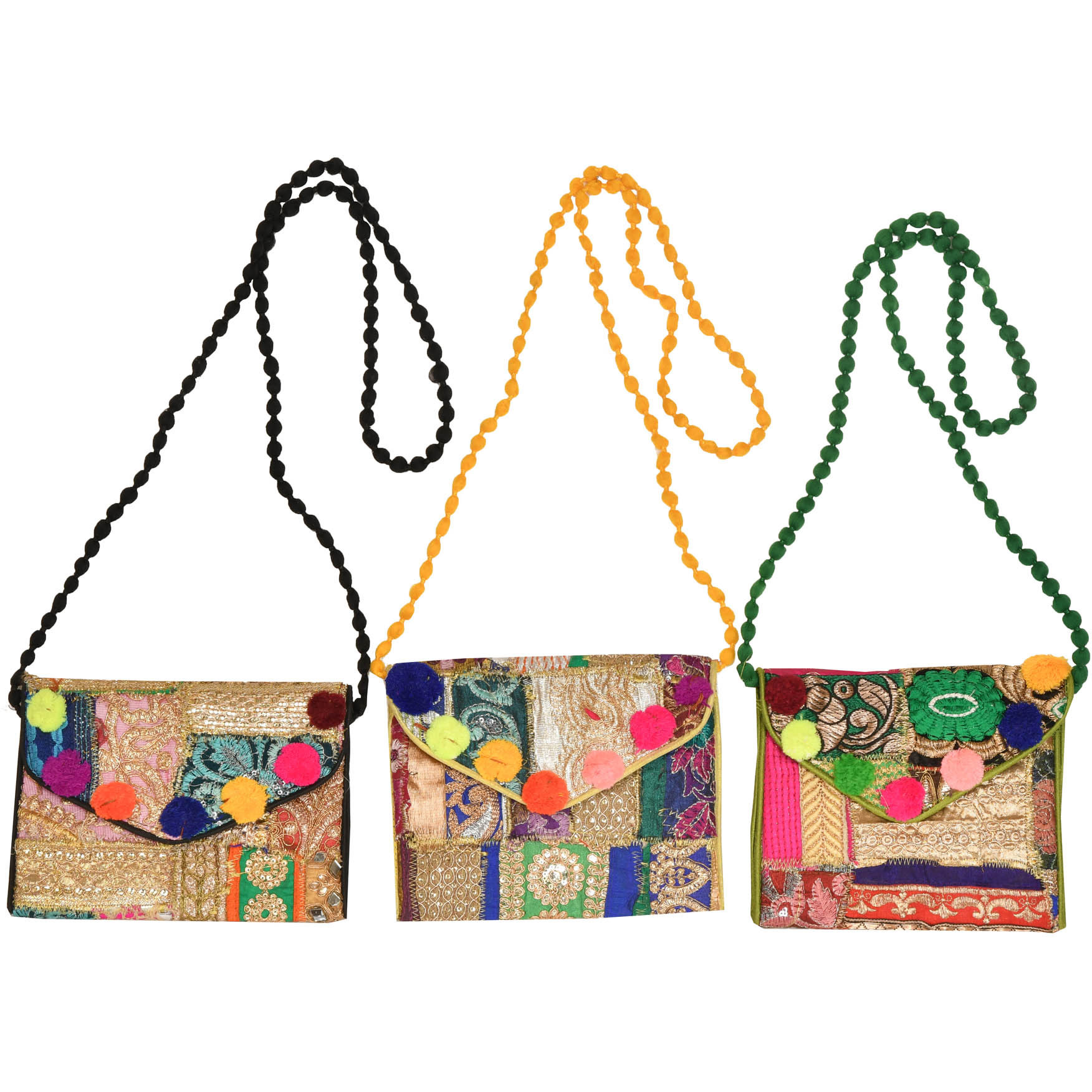 Lot of Three Clutch Bag from Gujarat with Embroidered Patchwork and Sequins
