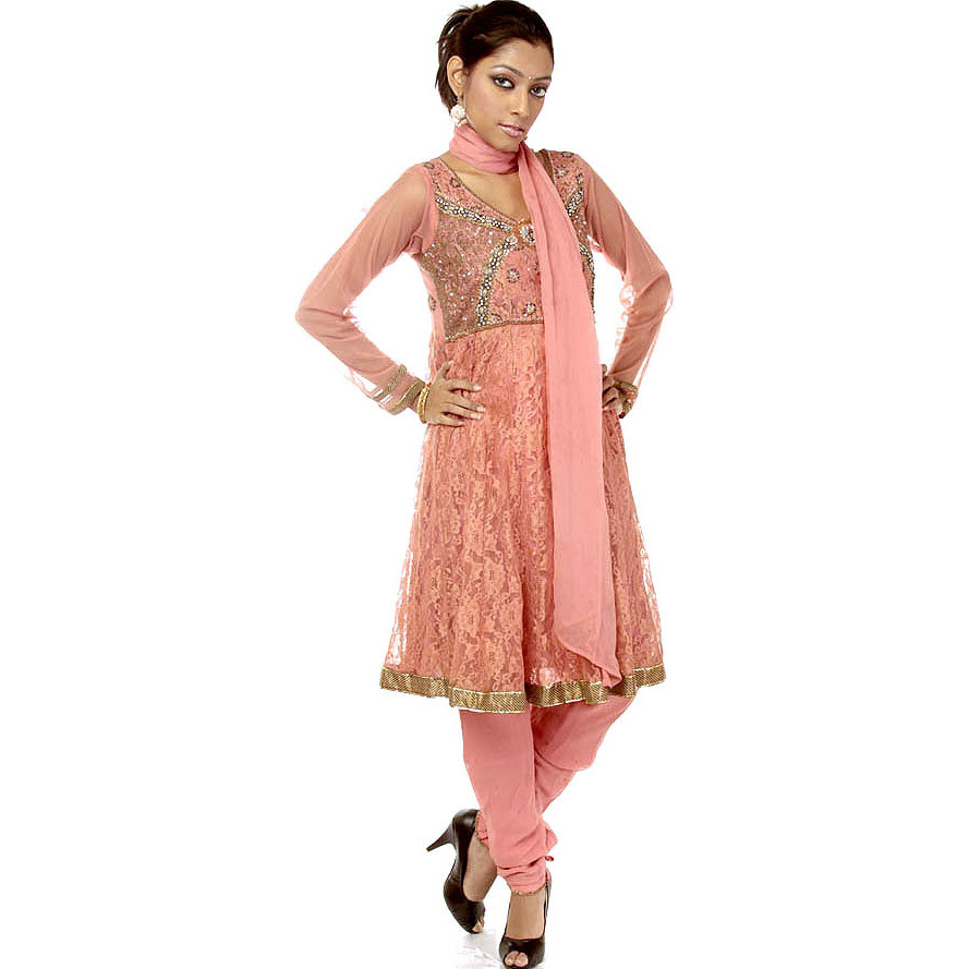 Peach-Blossom Anarkali Suit with Antique Beadwork and Sequins