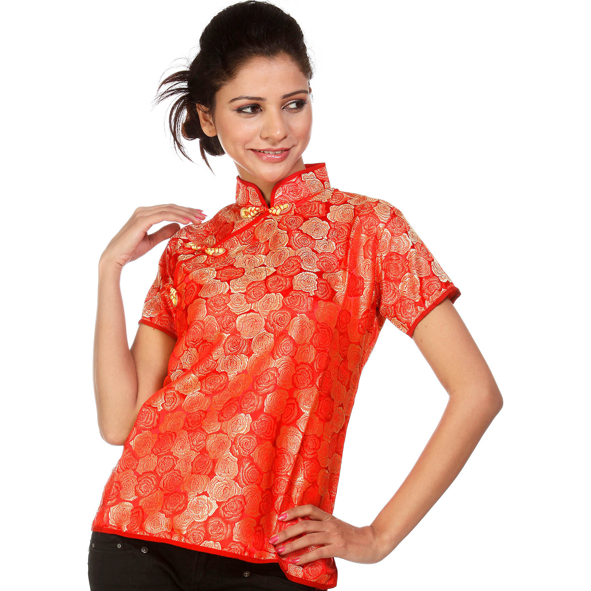 Red Floral Brocaded Cheongsam Top from Sikkim
