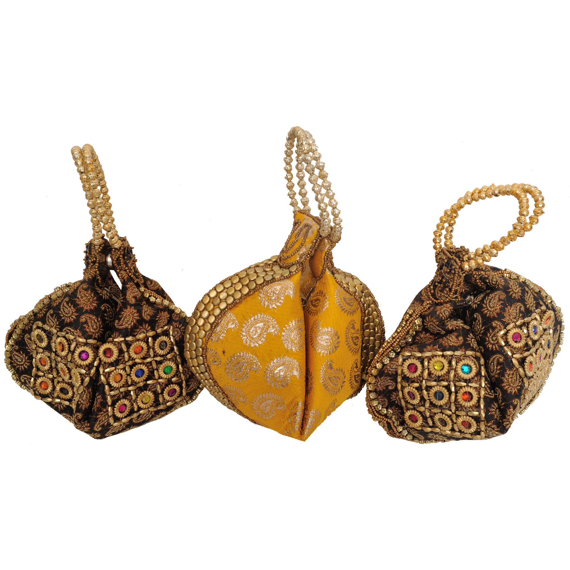 Lot of Three Bracelet Bags with Brocade Weave and Beadwork