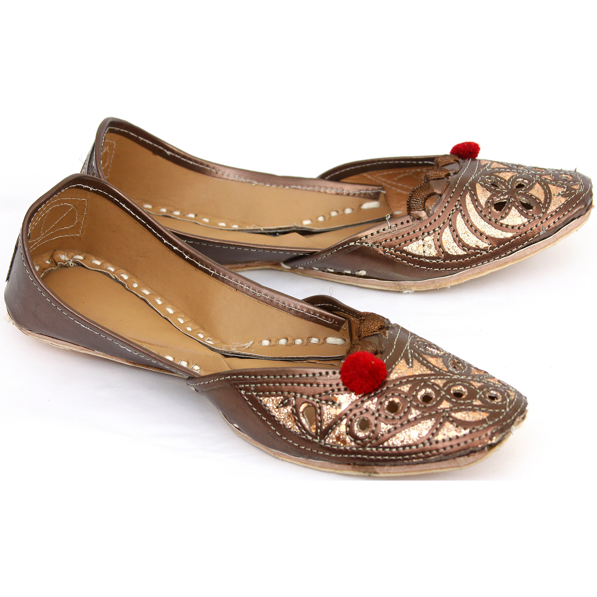 Toffee-Brown Mojaris with Embroidery