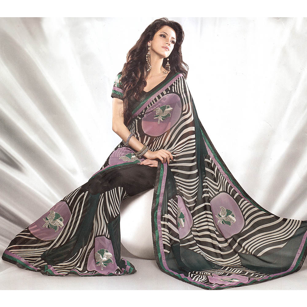 Mauve and Black Printed Designer Sari with Patch Border and Floral Embroidery