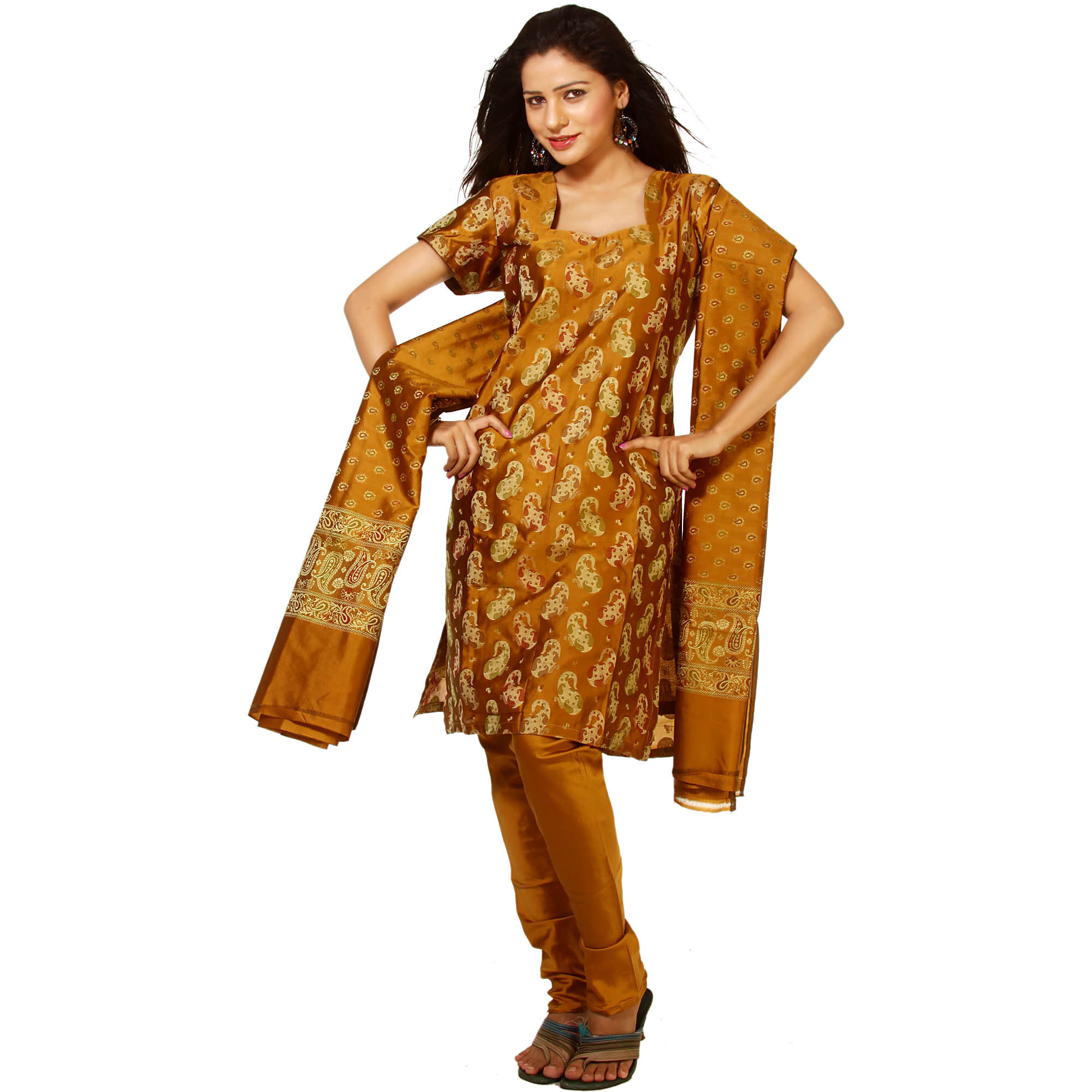 Mustard Banarasi Salwar Kameez Suit Fabric with All-Over Woven Paisleys