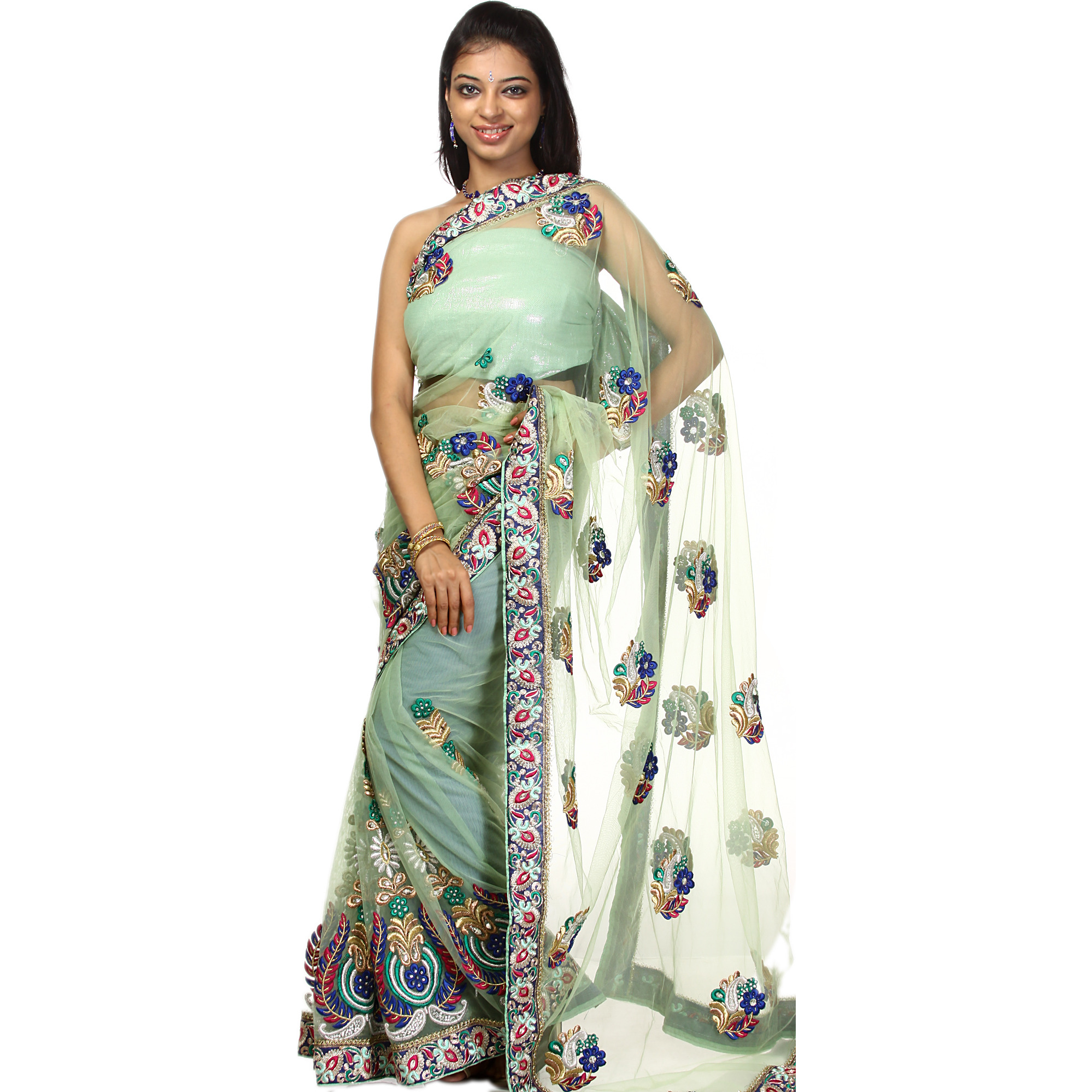 Zephyr-Green Designer Sari with Dense Crewel Embroidery and Zardozi Patch Border