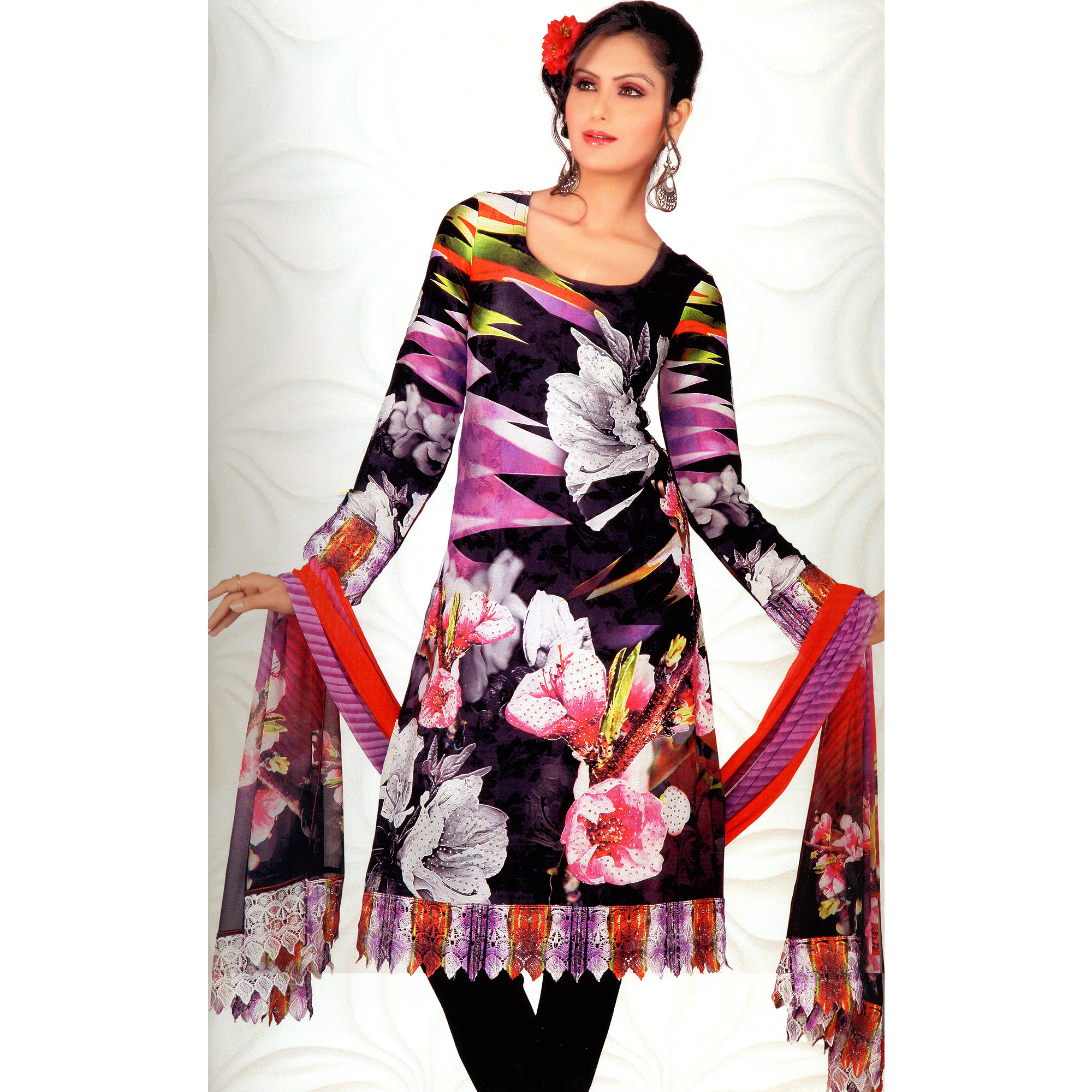 Midnight-Black Choodidaar Kameez Suit with Large Printed Flowers,Crochet Border and Mokaish Work